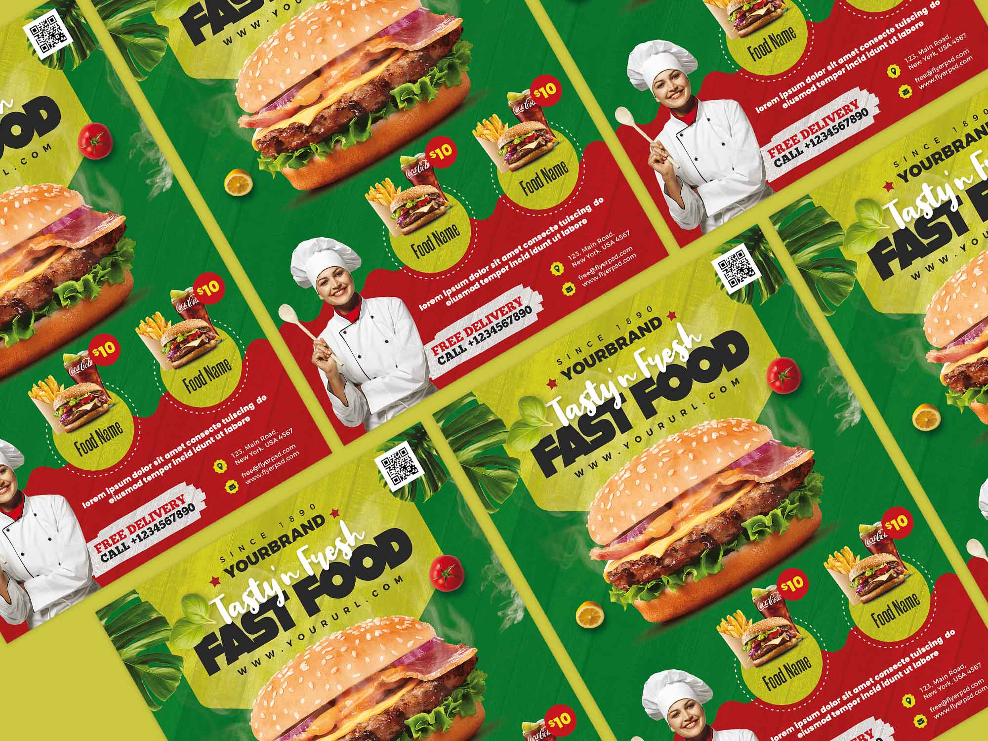 Fast Food Restaurant Menu Flyer Template 2