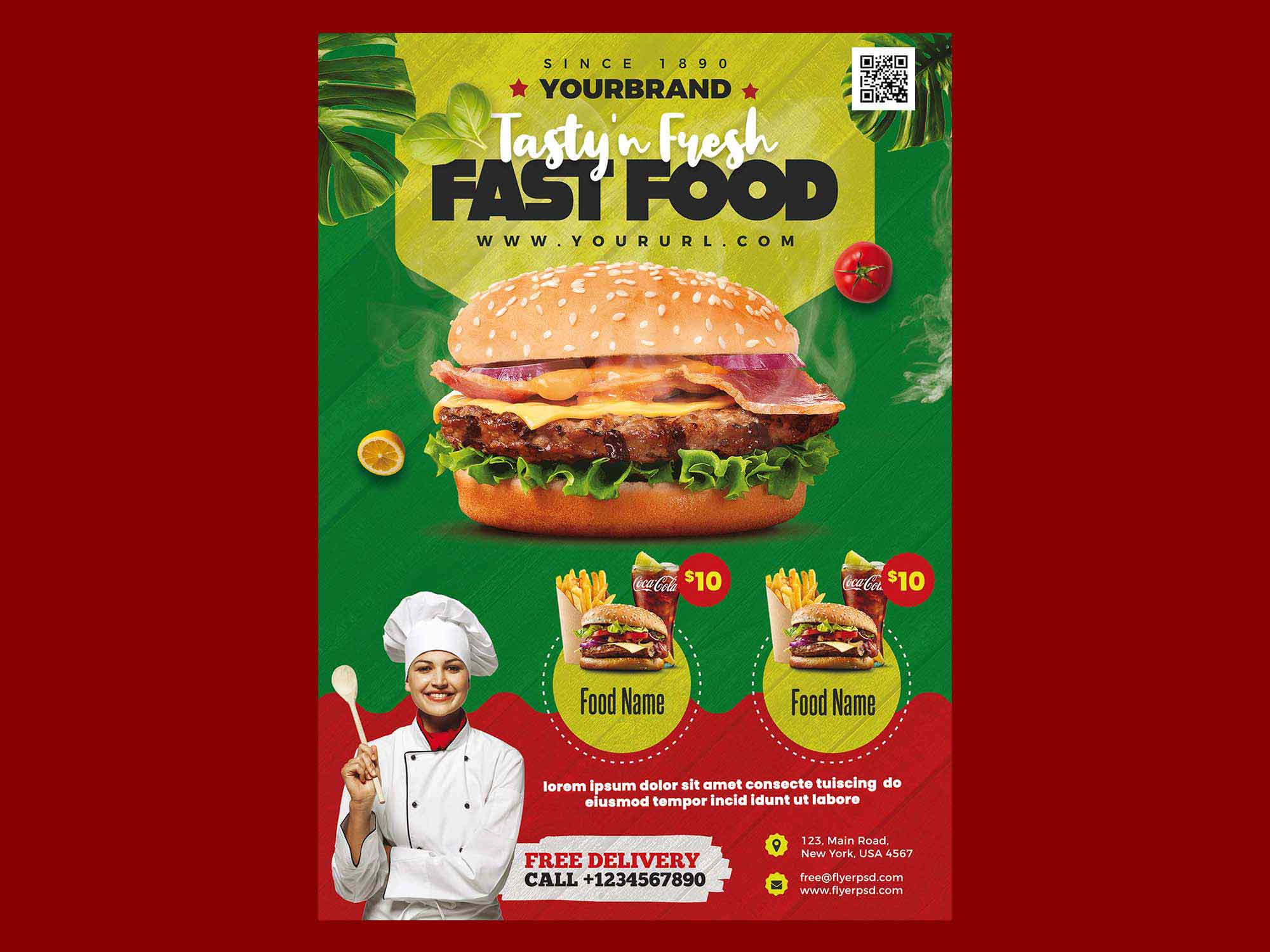 Free Fast Food Restaurant Menu Flyer Template Psd