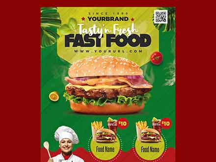Fast Food Restaurant Menu Flyer Template