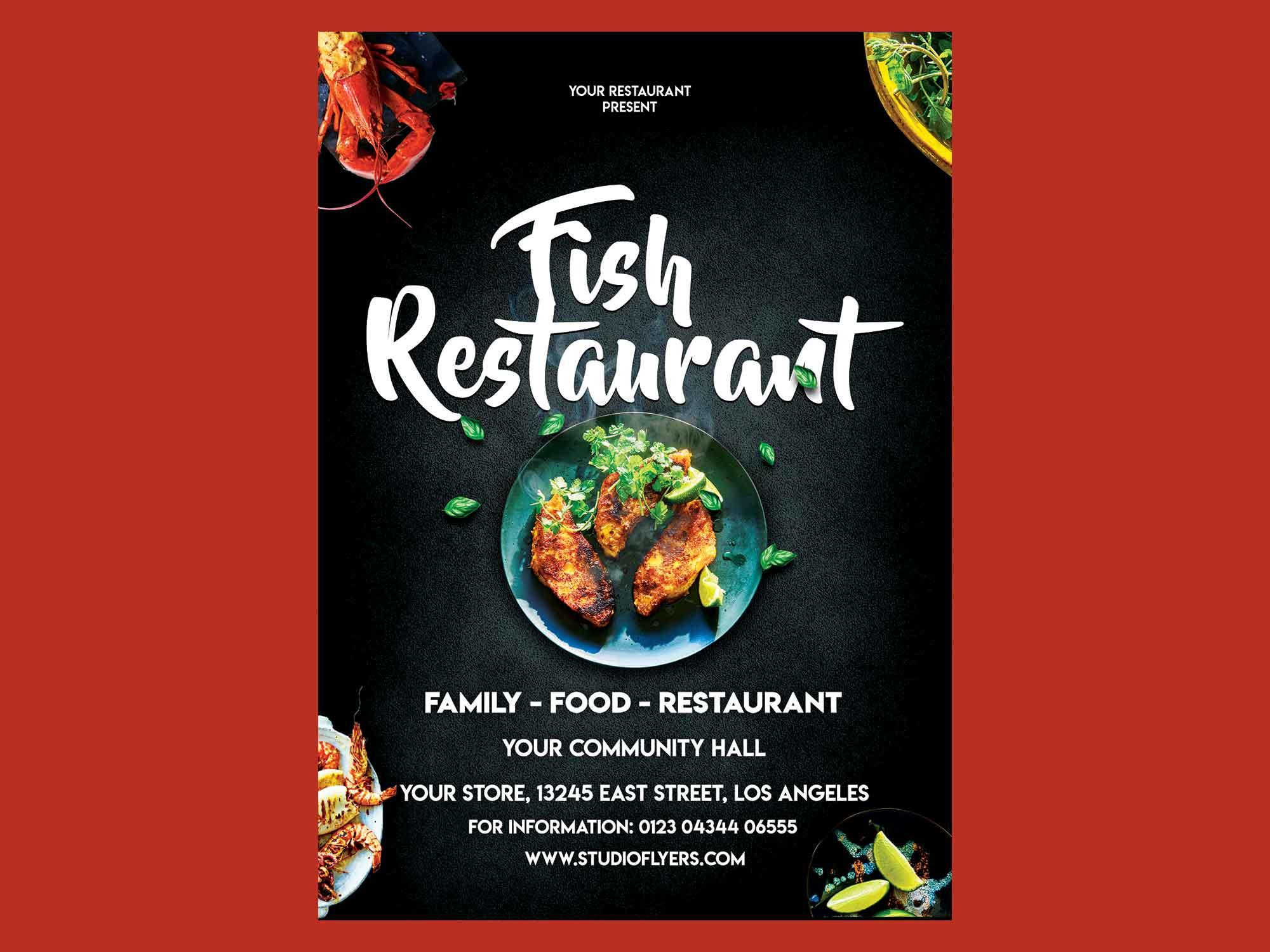Fish Restaurant Flyer Template