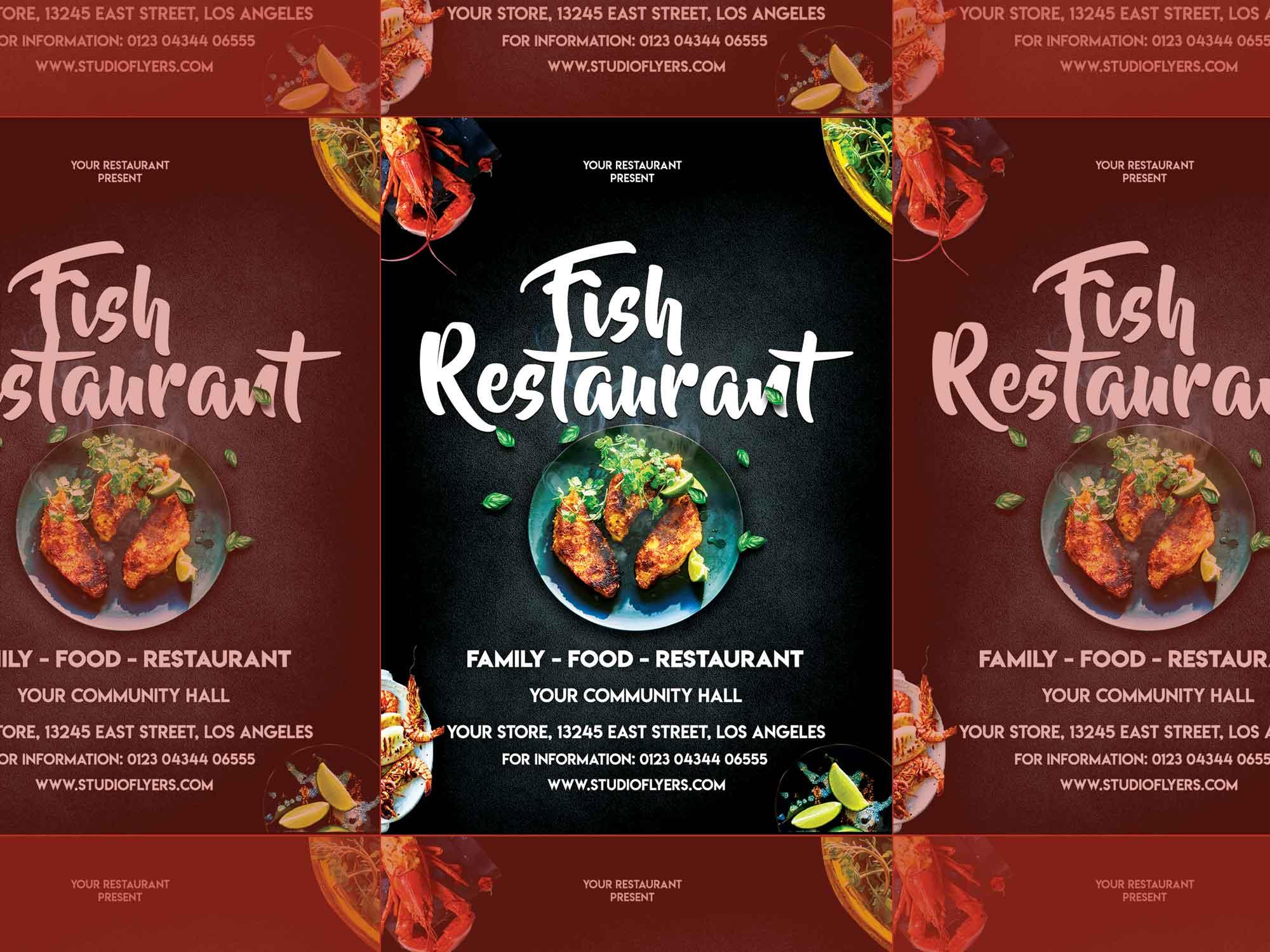 Fish Restaurant Flyer Template 2