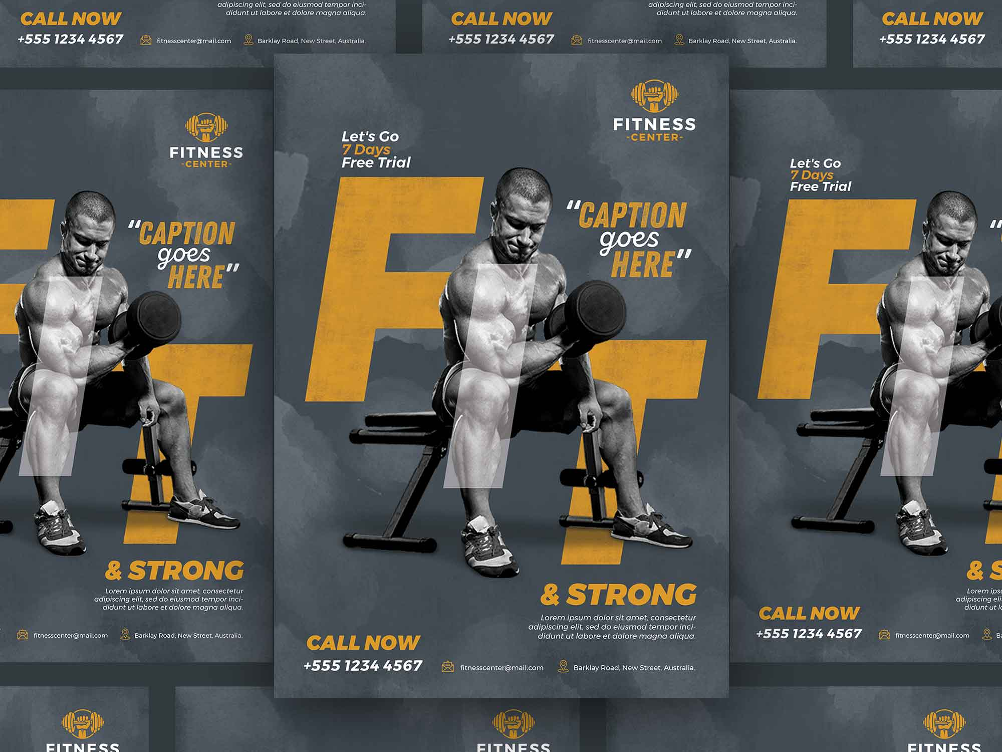Fitness Body Builder Flyer Template 2