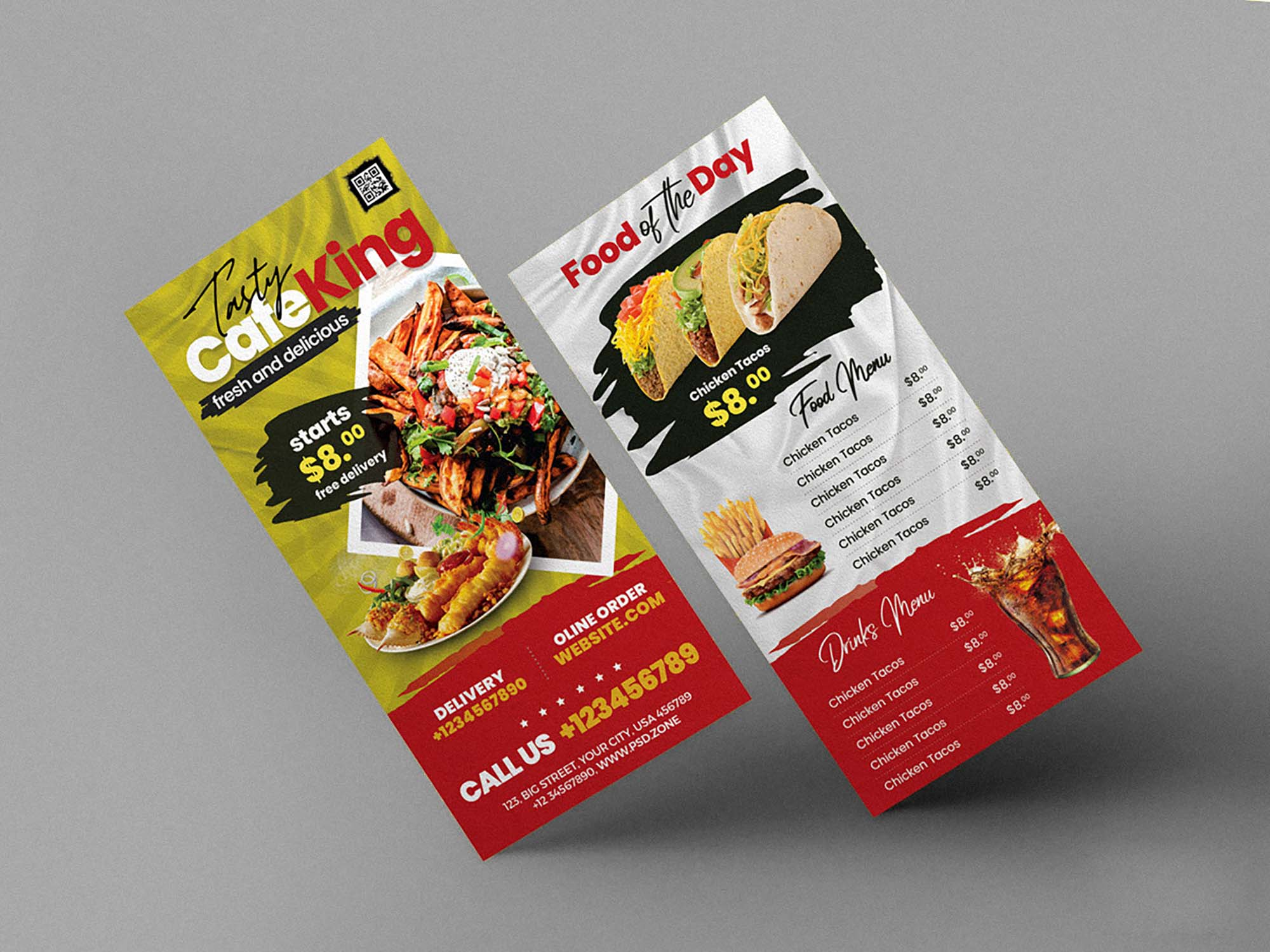 Free Food Menu Dl Flyer Template Psd