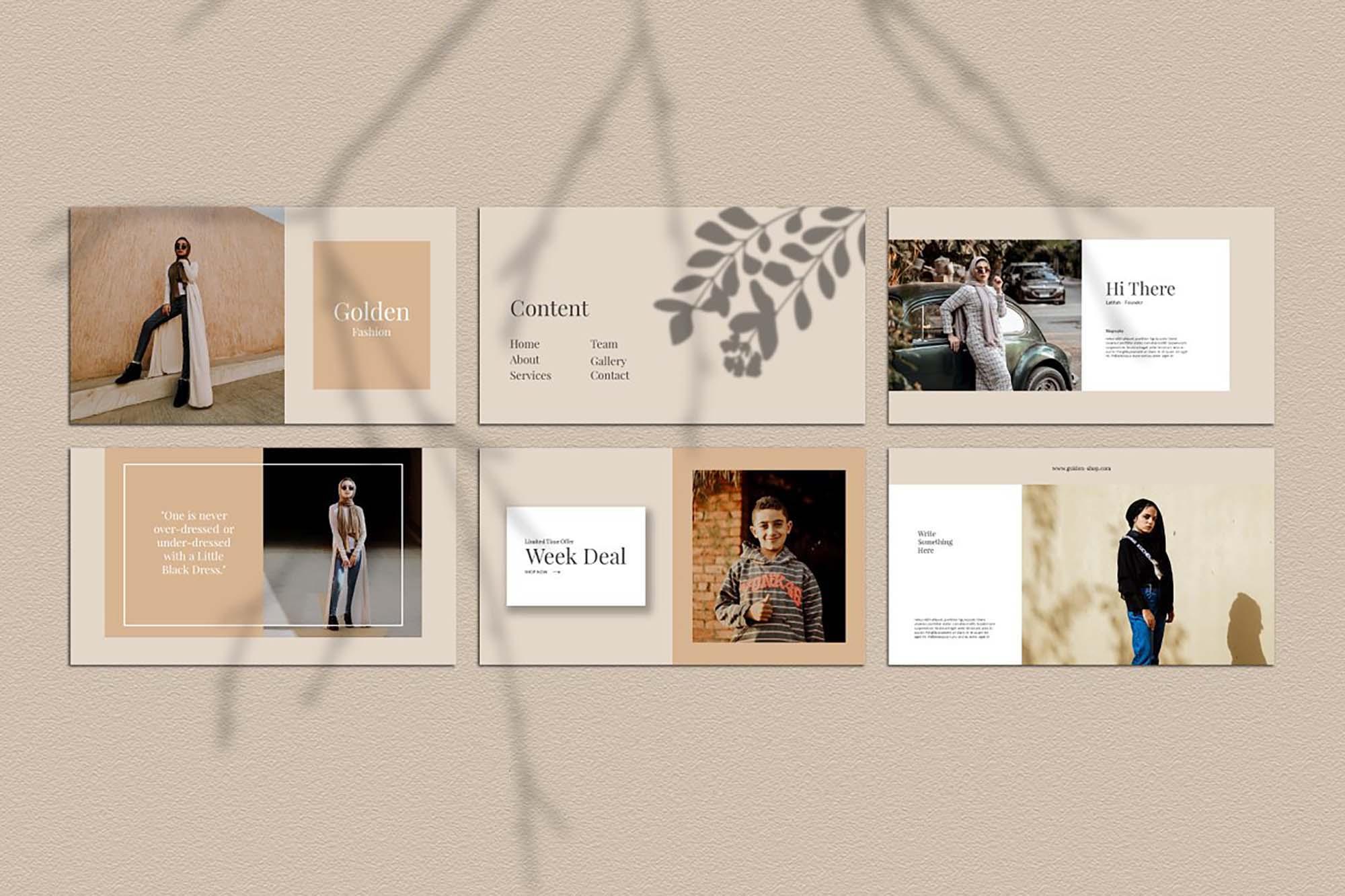Golden Lookbook Fashion Powerpoint 2