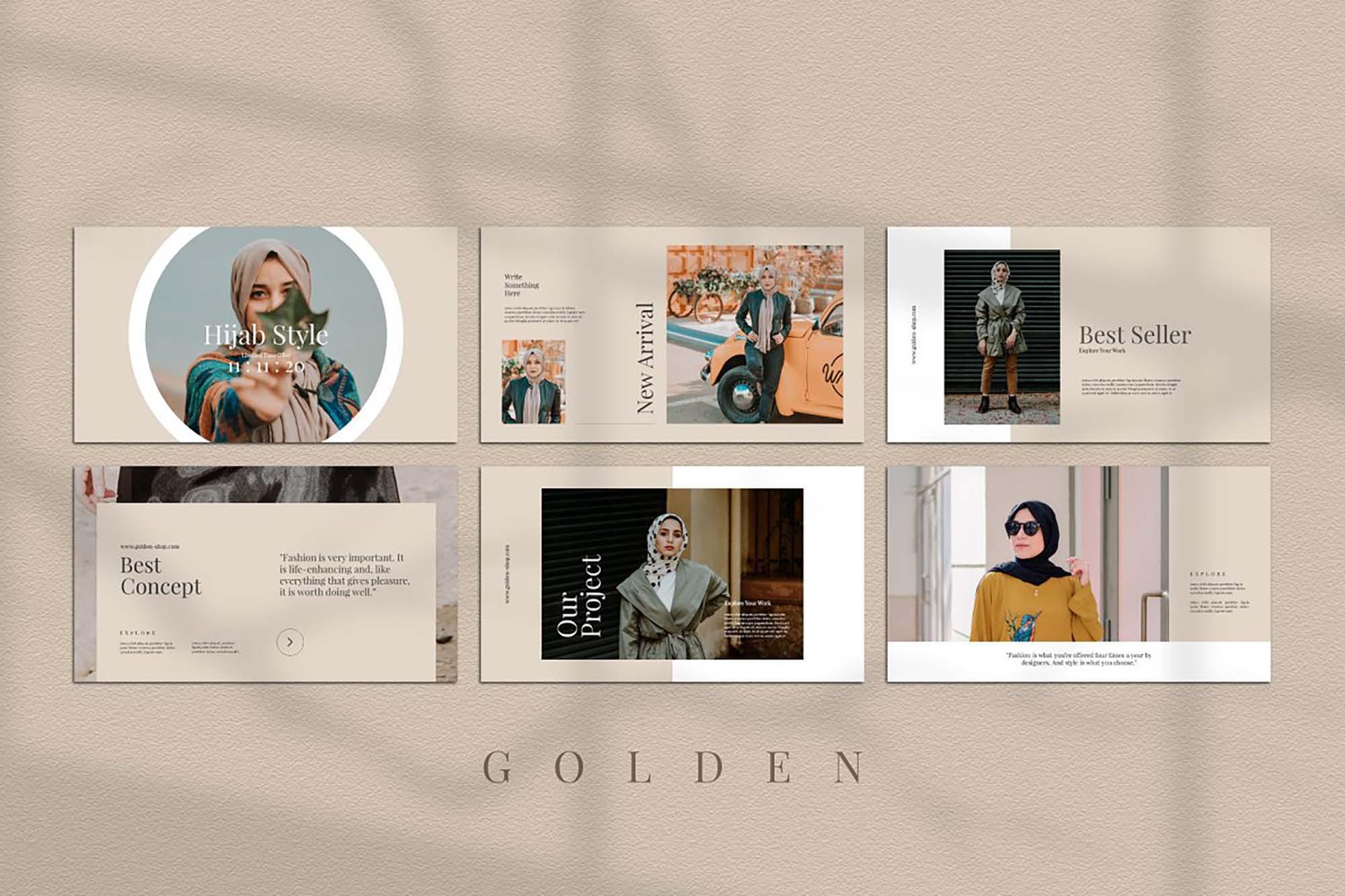 Golden Lookbook Fashion Powerpoint 4