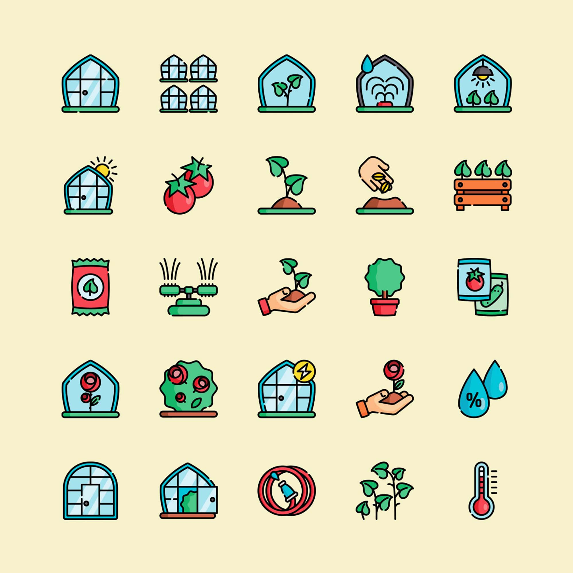 Greenhouse Vector Icons 1