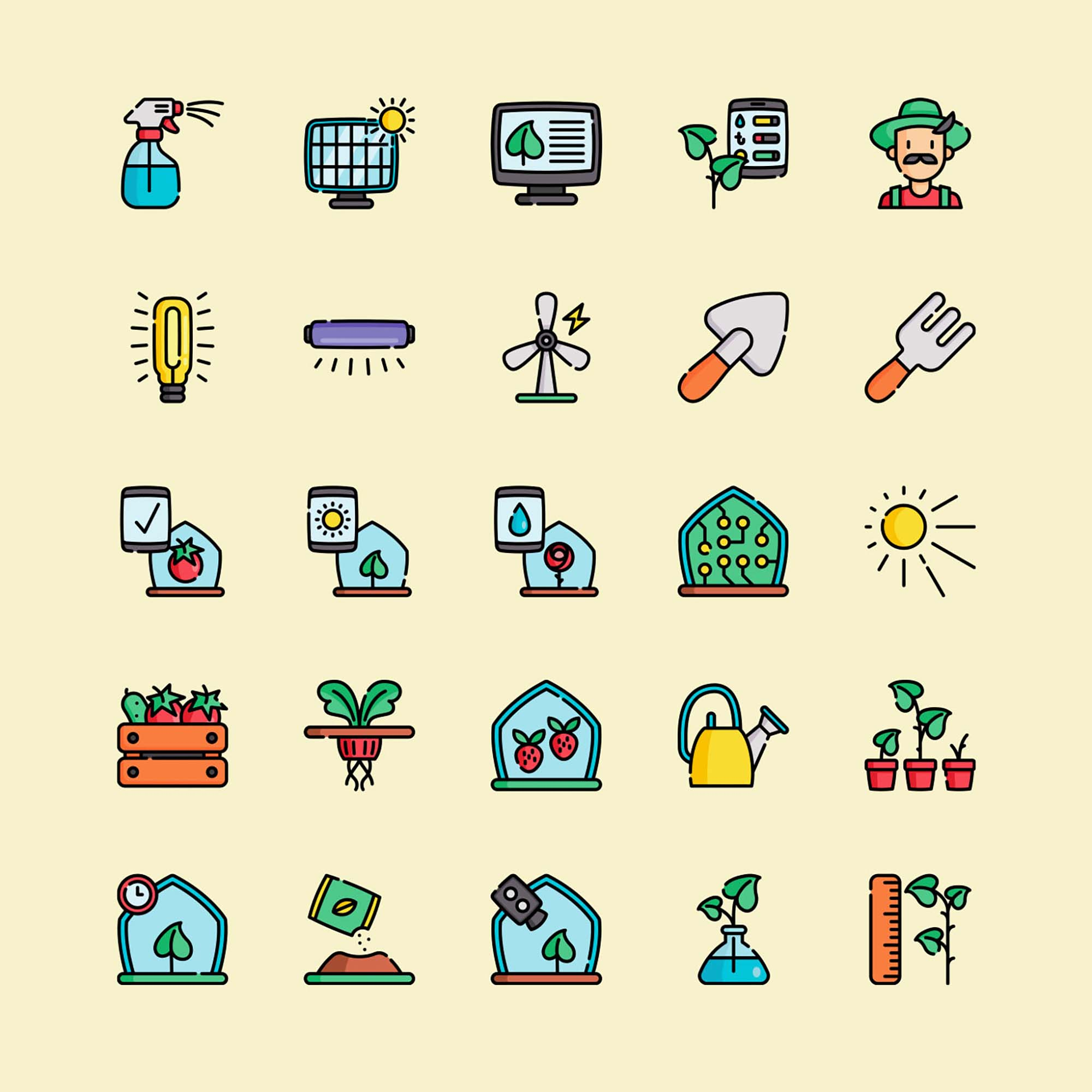 Greenhouse Vector Icons 2