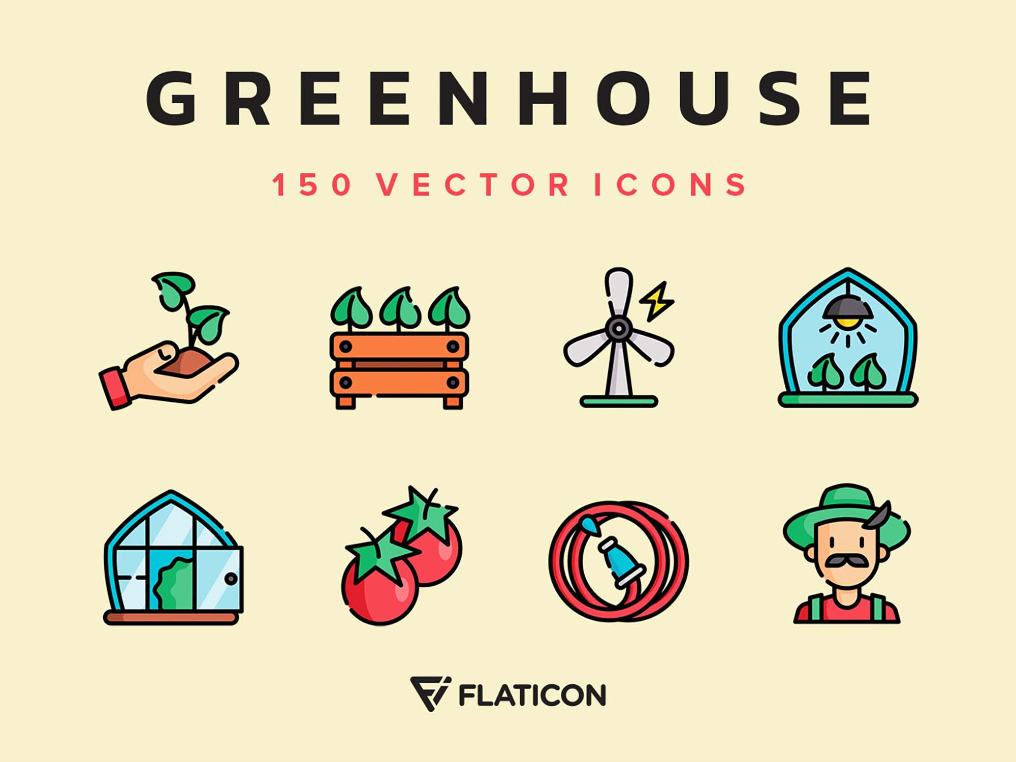 Greenhouse Vector Icons 4