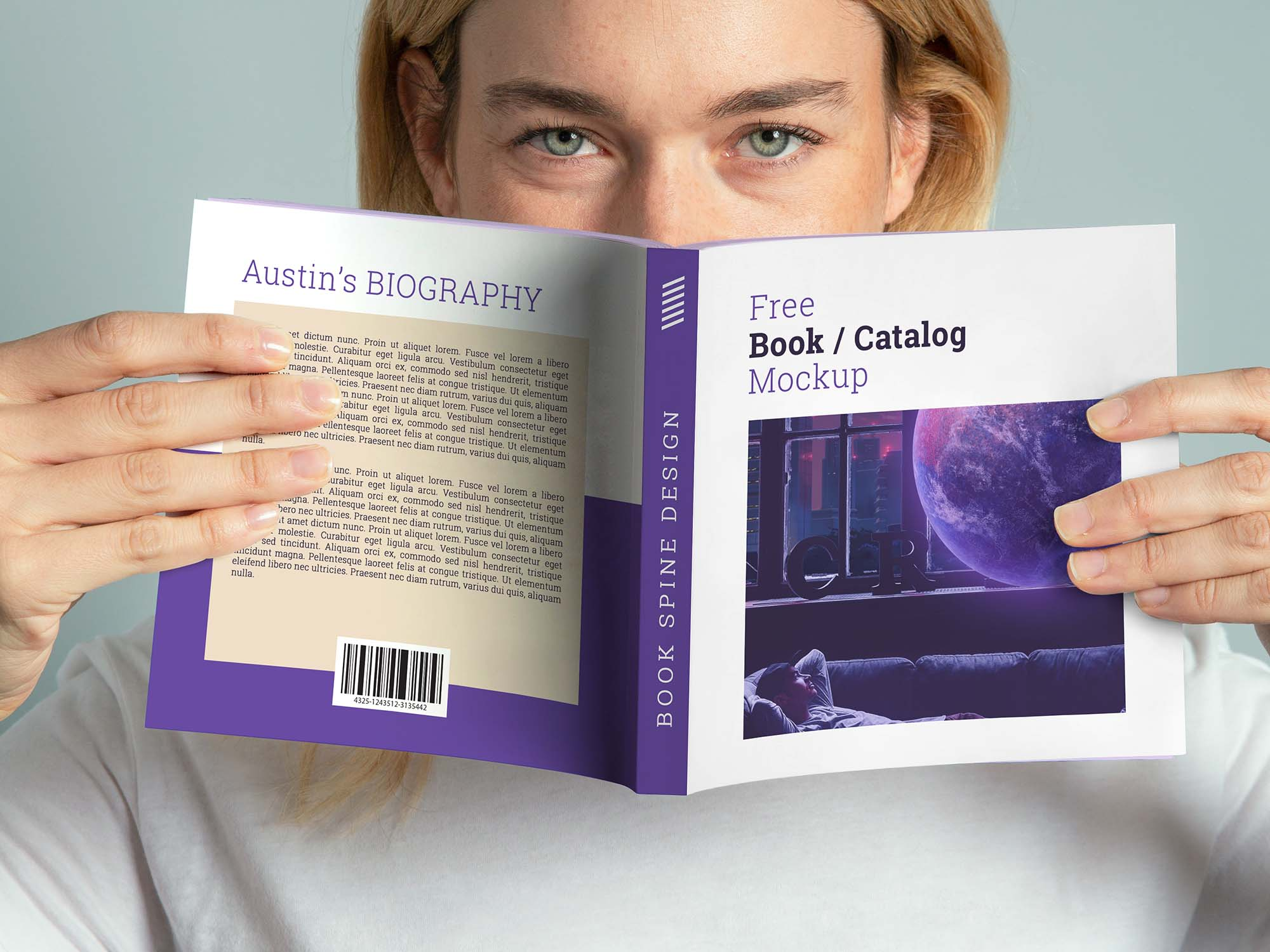 Hands Holding Square Book Mockup