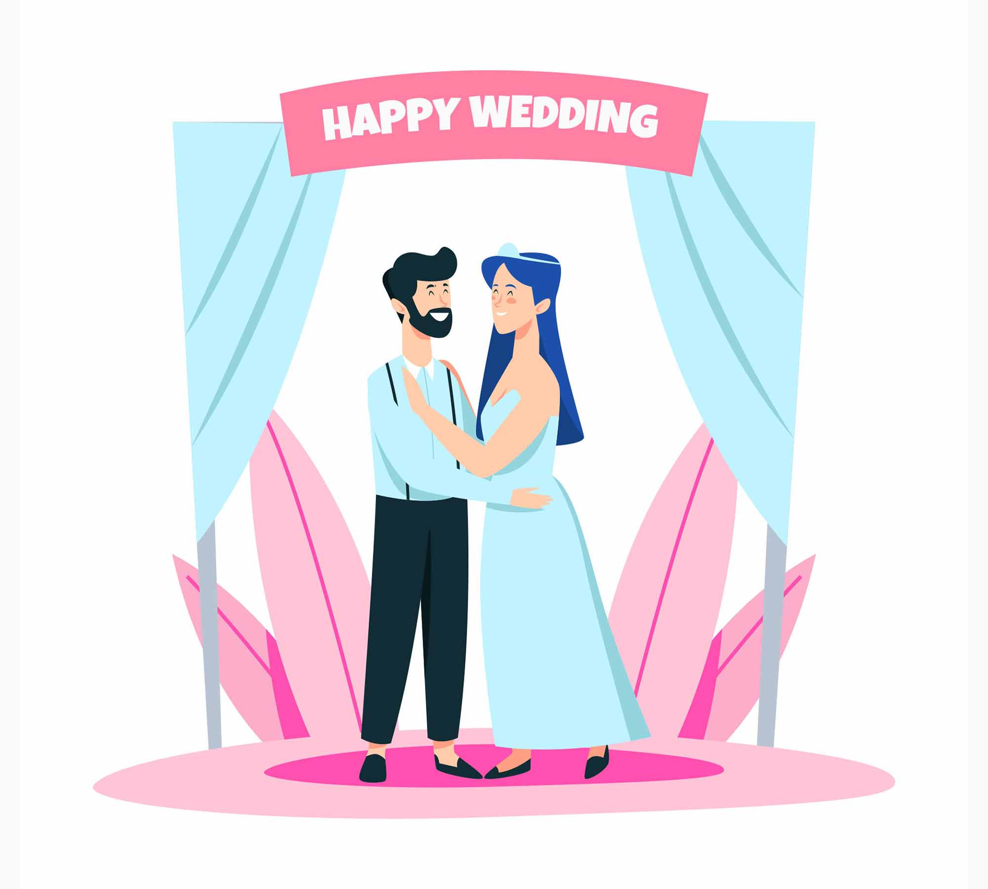 Happy Wedding Illustration