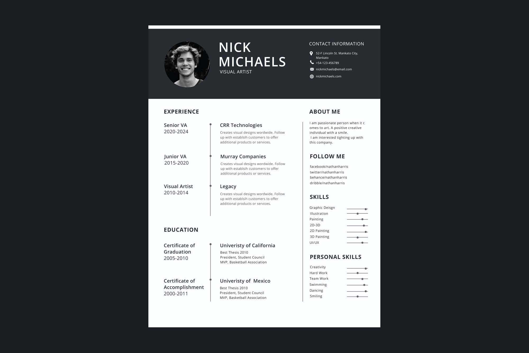 Single Page Resume Template from unblast.com
