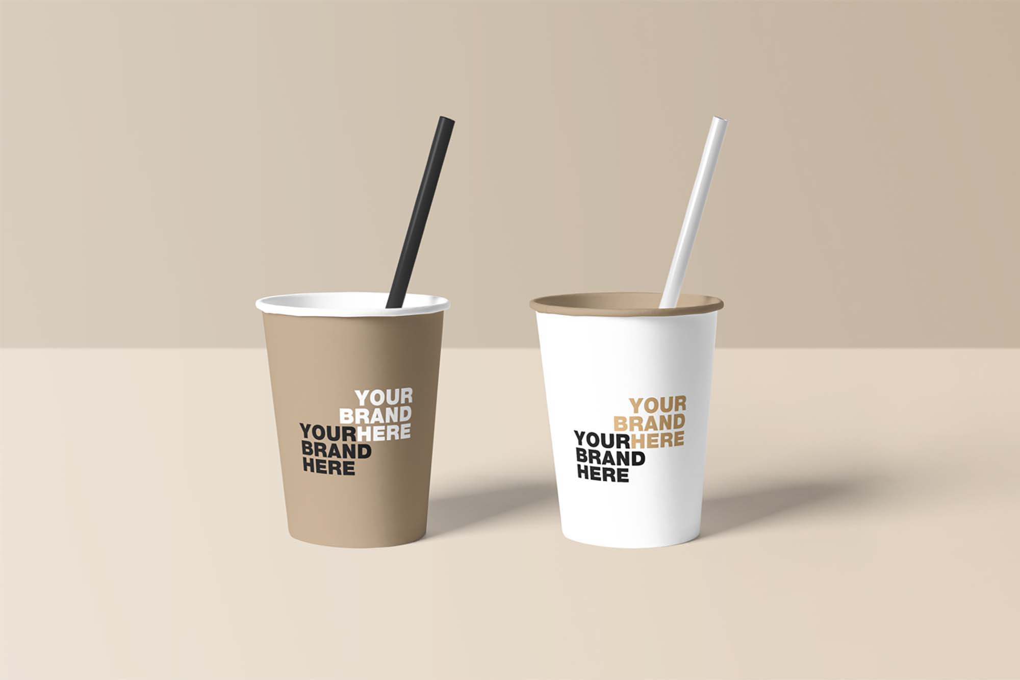 Paper Cups with Straw Mockup