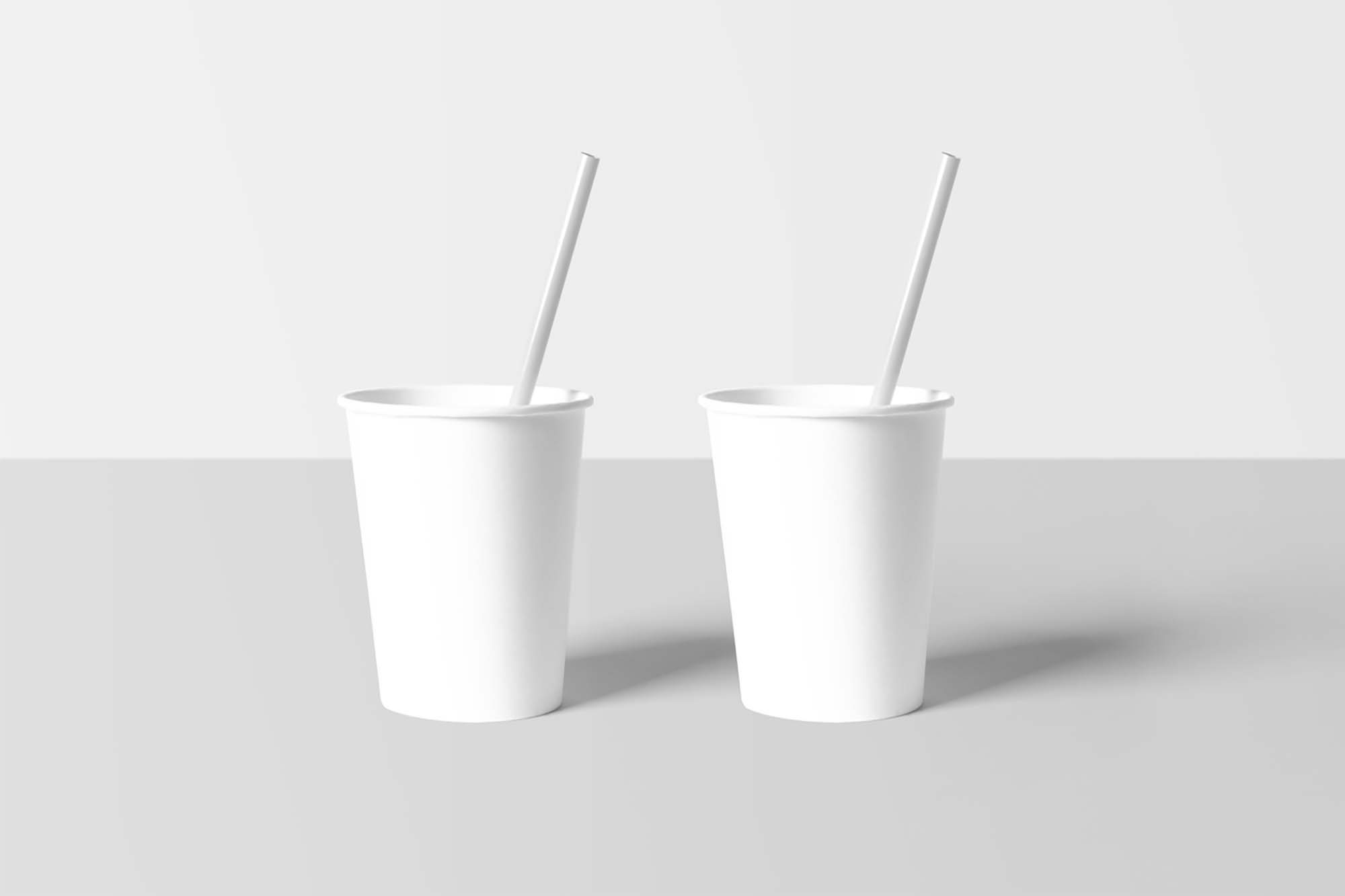 Paper Cups with Straw Mockup 2
