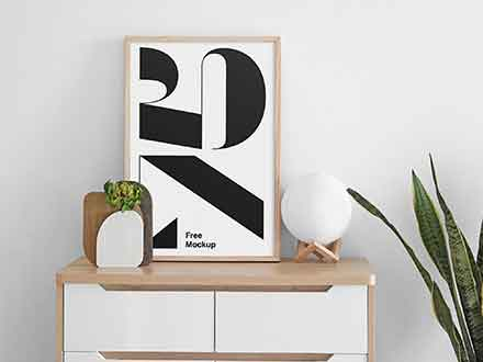 Poster on Cabinet Mockup