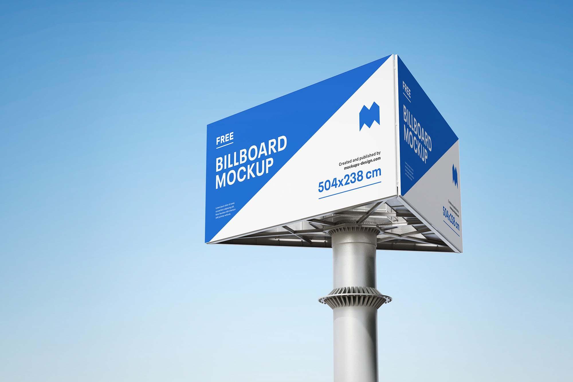 Triple Side Billboard Mockup
