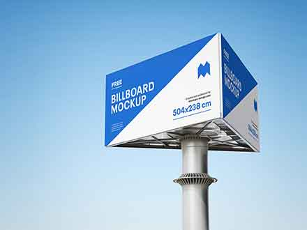 Triple Side Billboard Mockup