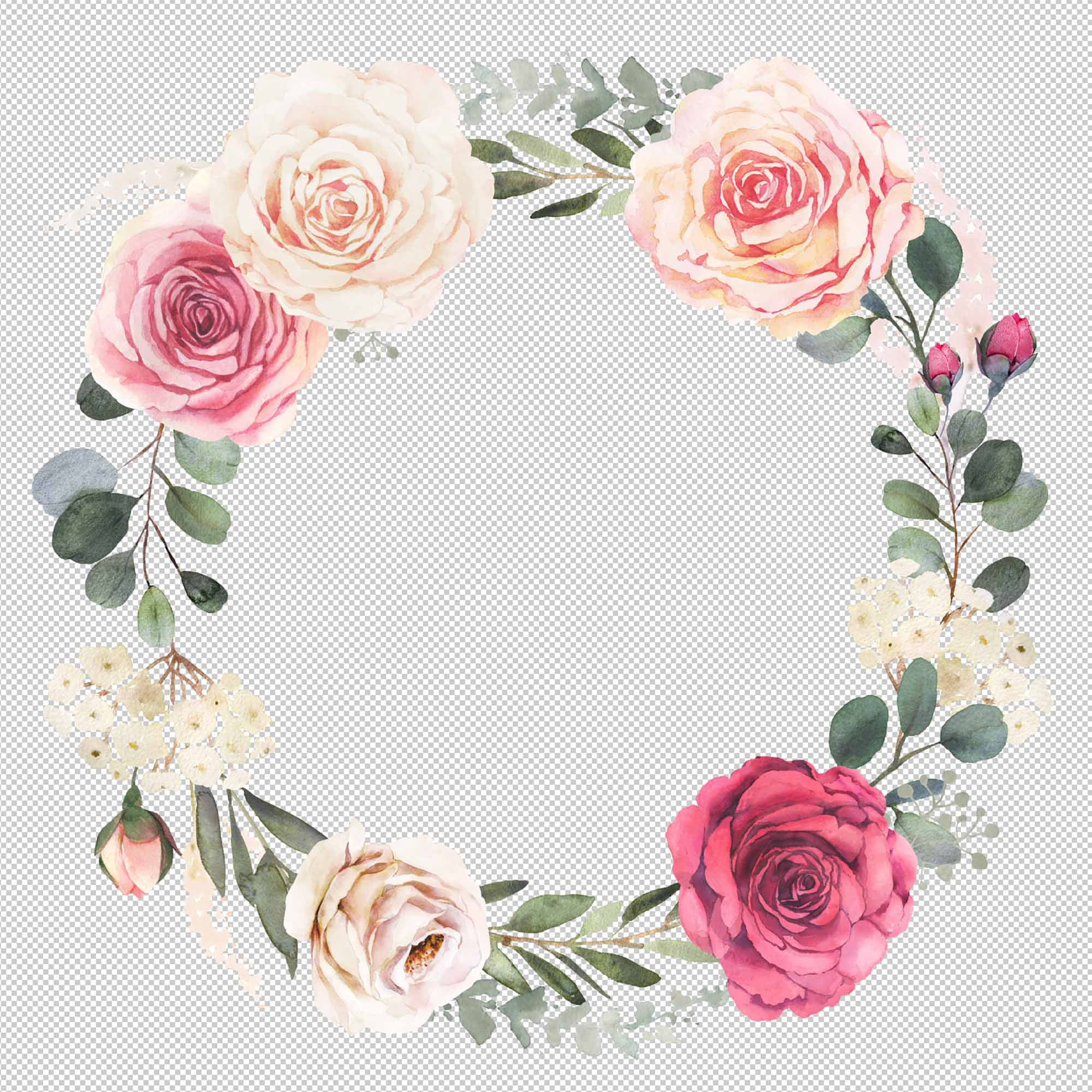 Watercolor Floral Wreath with Roses 2
