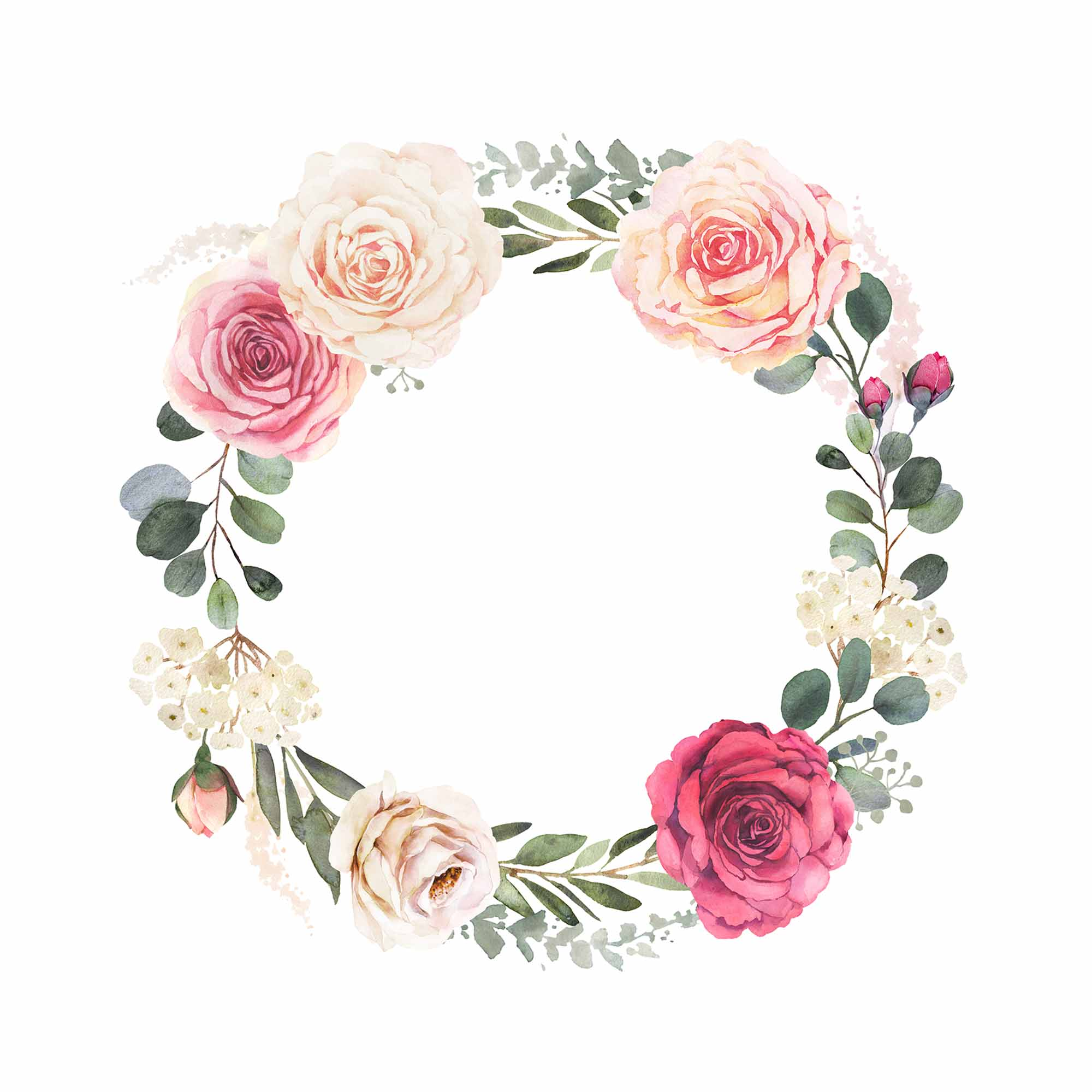 Watercolor Floral Wreath with Roses