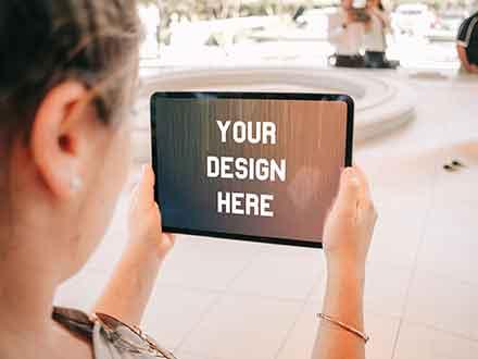 Woman Holding iPad Pro Mockup