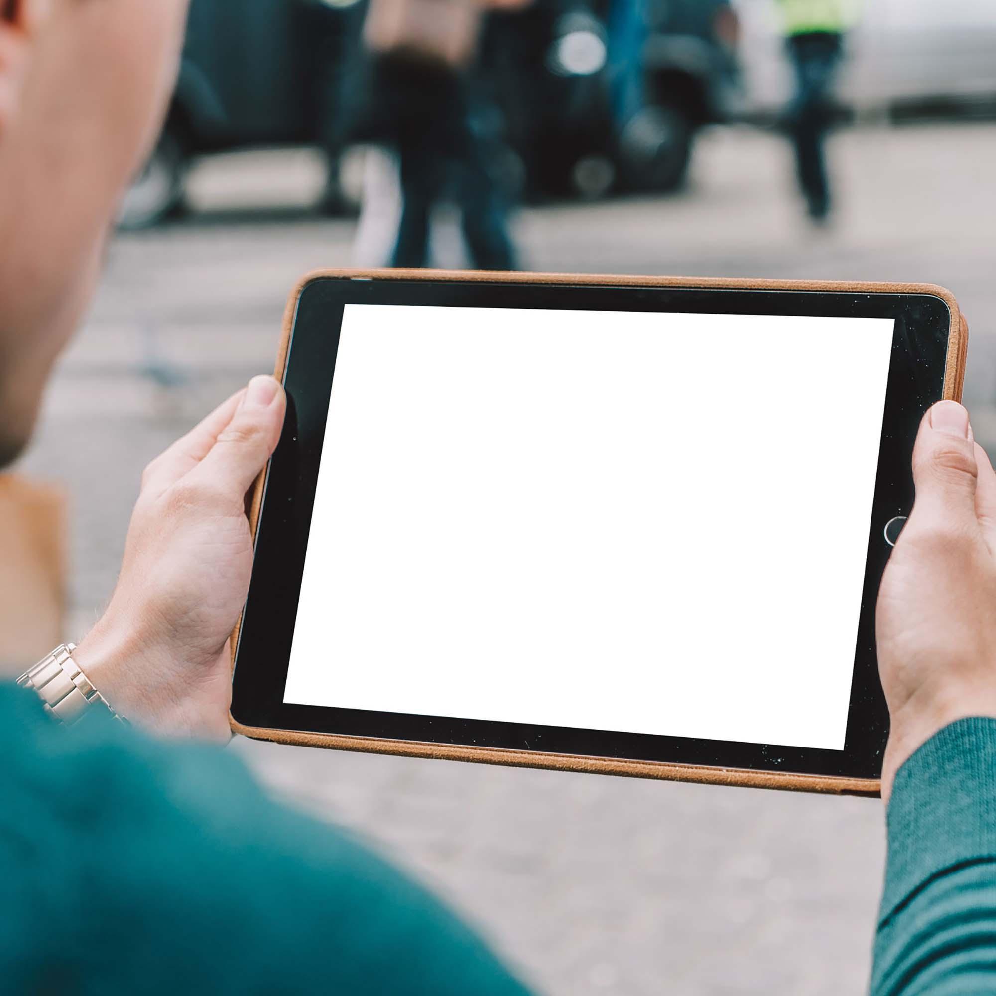 iPad in Hands Mockup 2