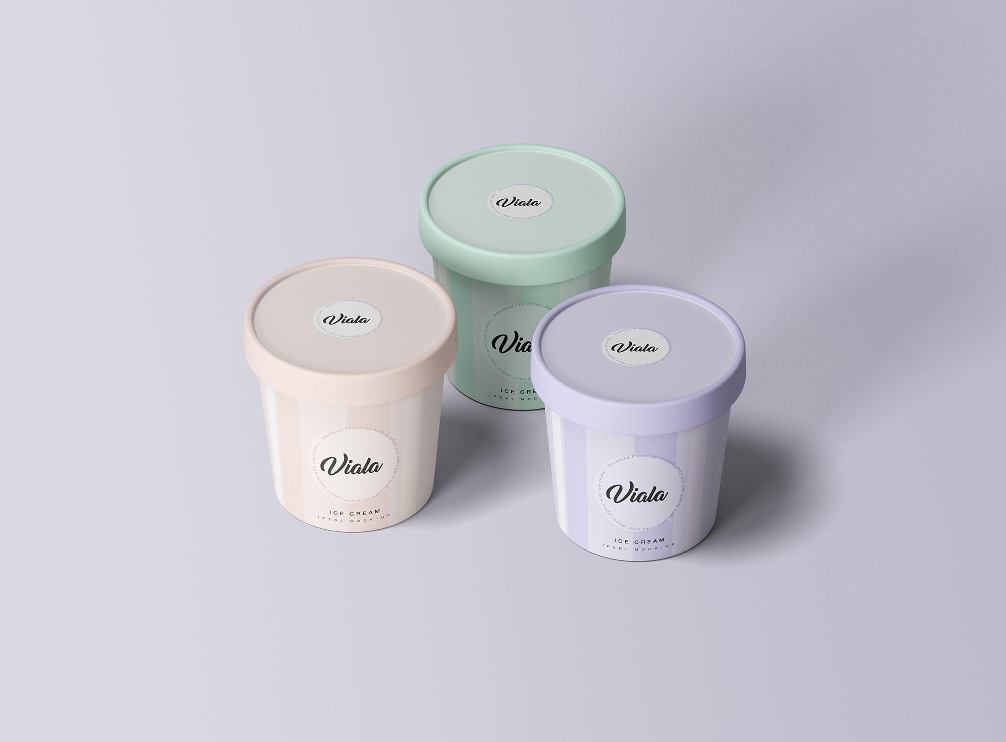 3 Ice Cream Cups Mockup