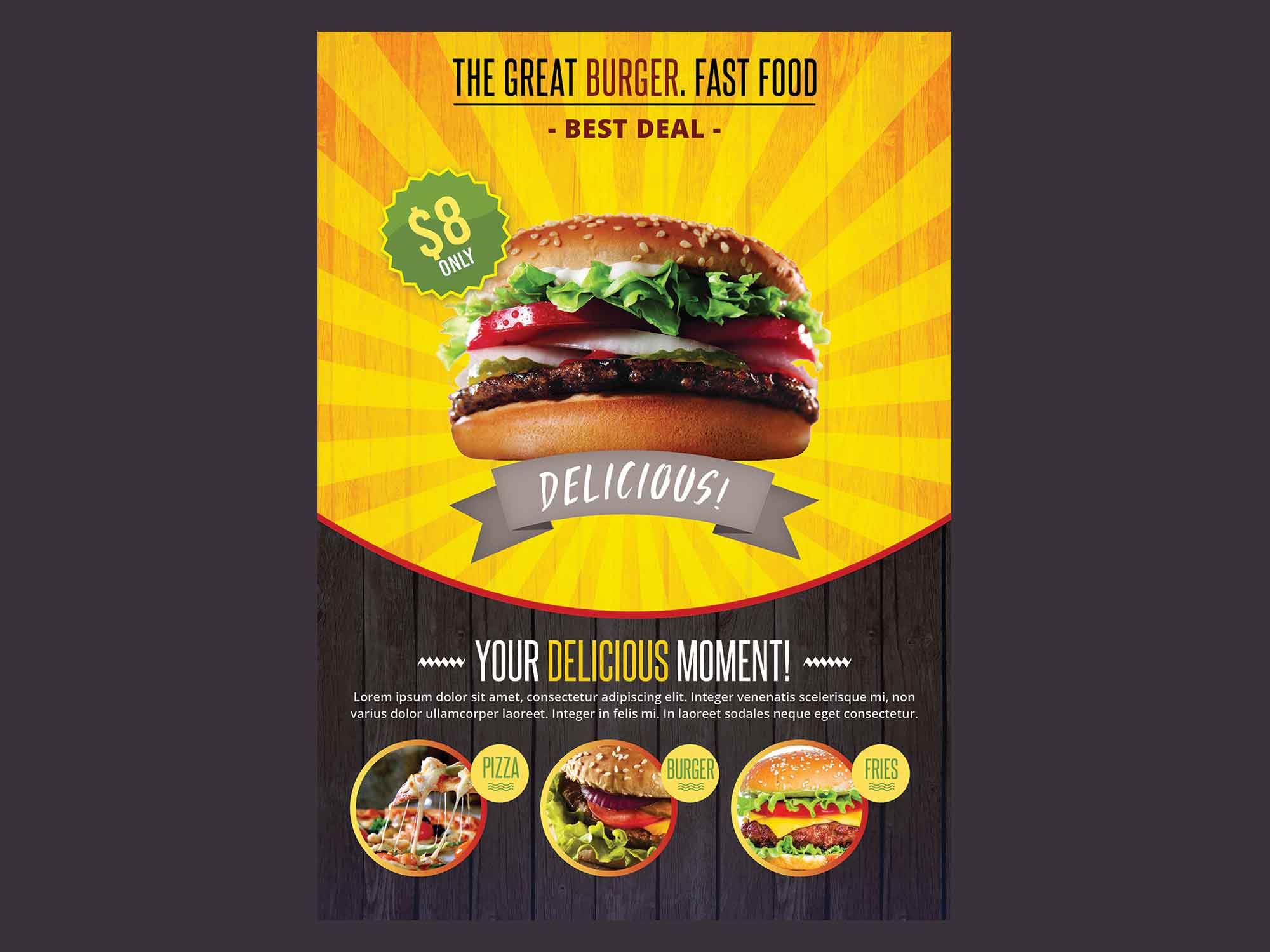 A4 Fast Food Flyer Template 2