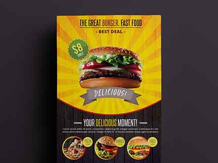 A4 Fast Food Flyer Template