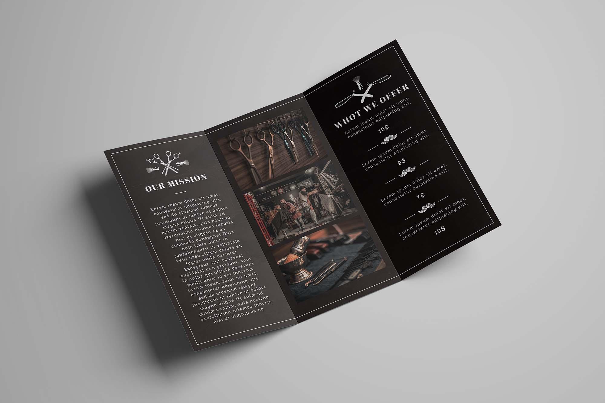 Barbershop Trifold Brochure Template 2
