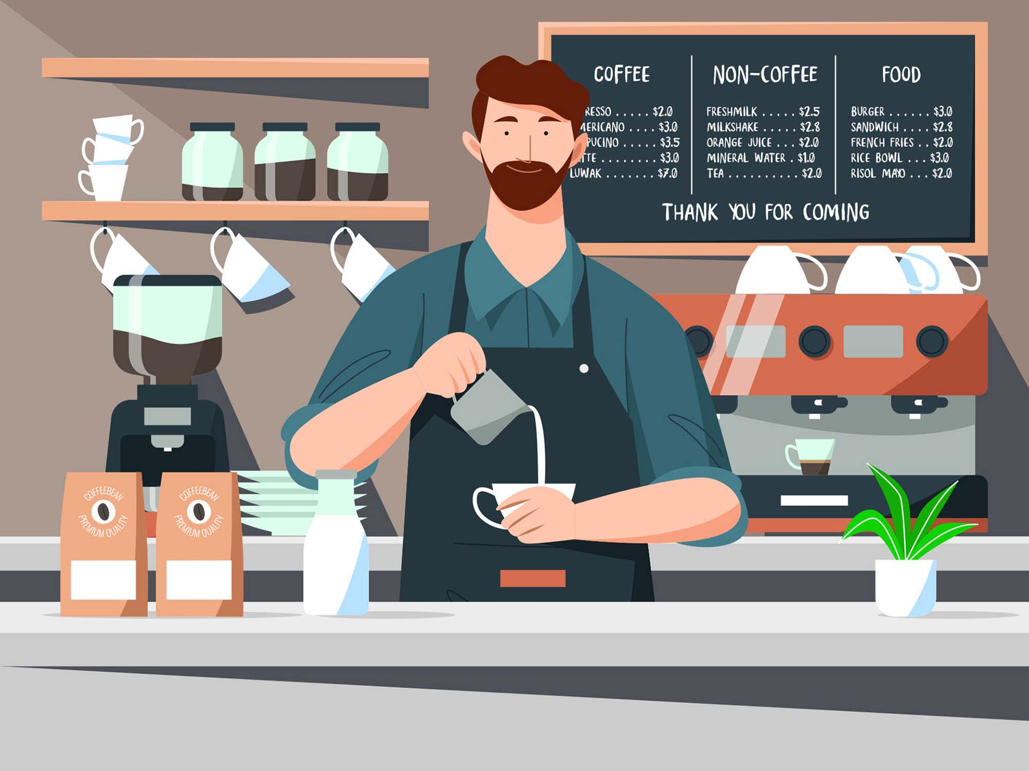 Barista Vector Illustration