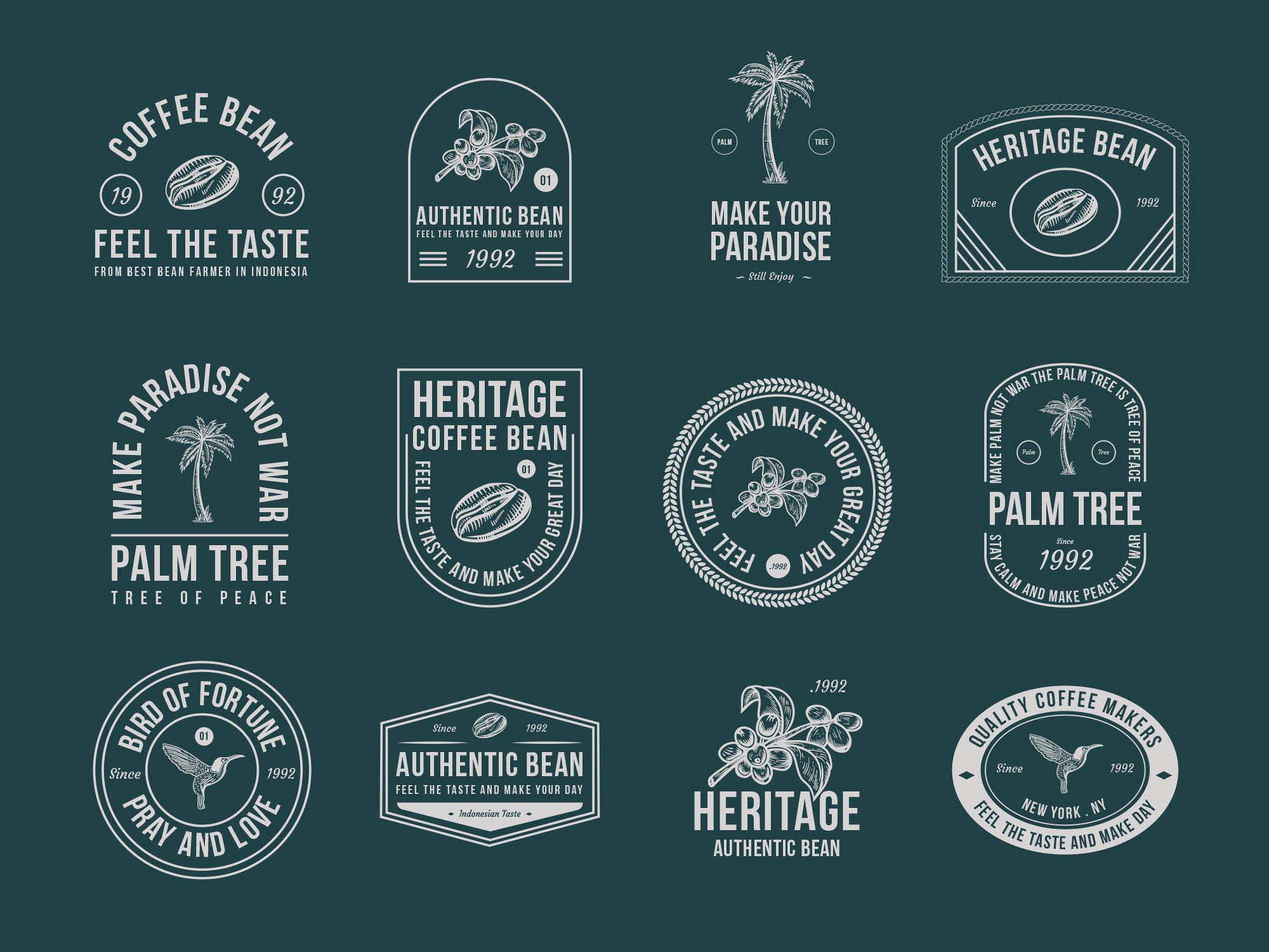 Coffee and Palm Tree Vector Badges 2