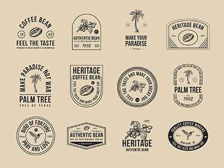 Coffee and Palm Tree Vector Badges