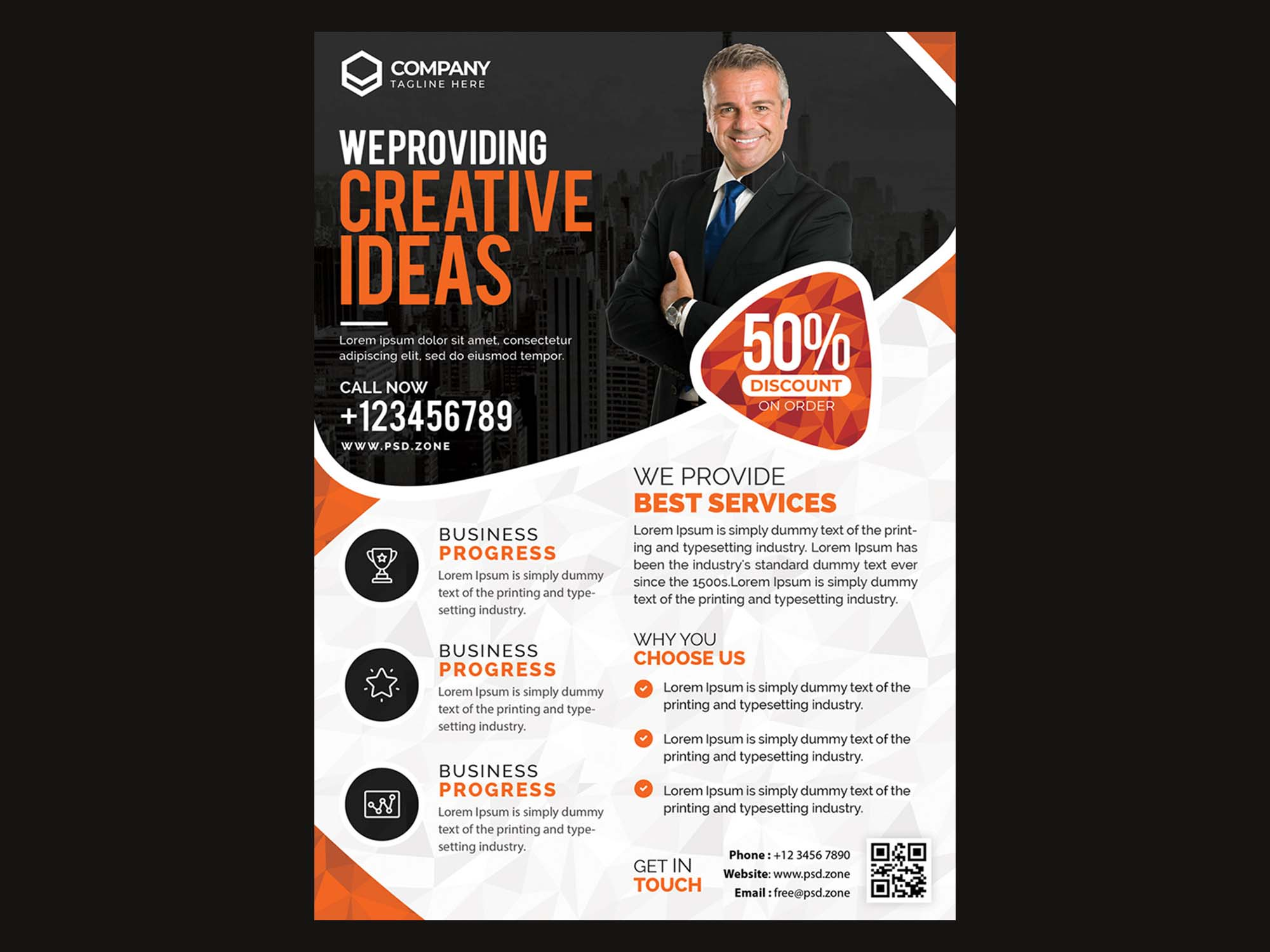 Free 4 Color Corporate Business Flyer Template (PSD)