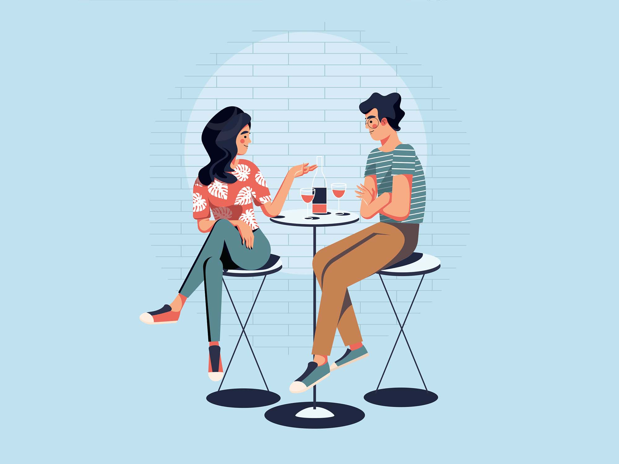 Couple Dating Vector Illustration