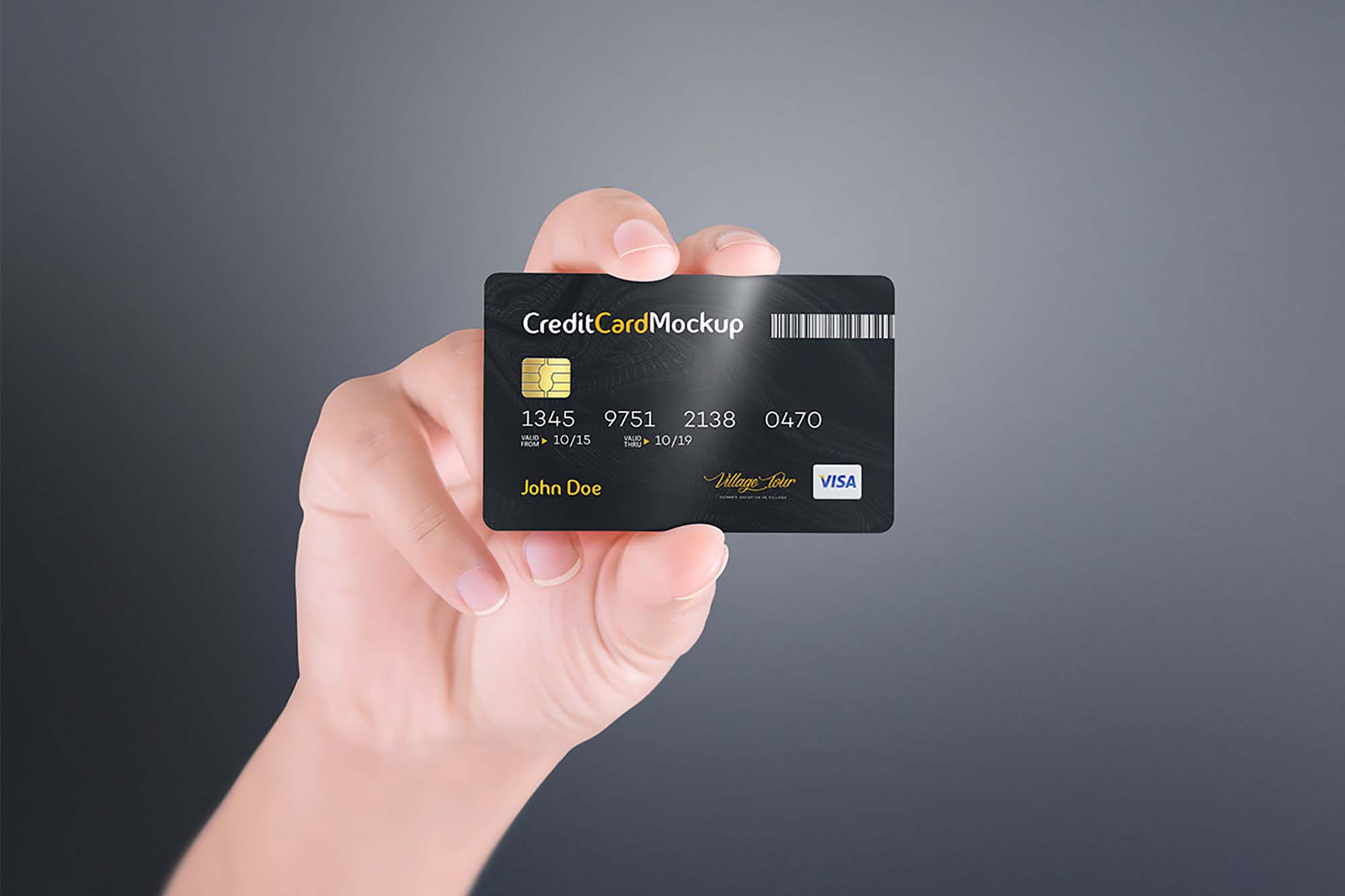 Credit Card in Hand Mockup 1