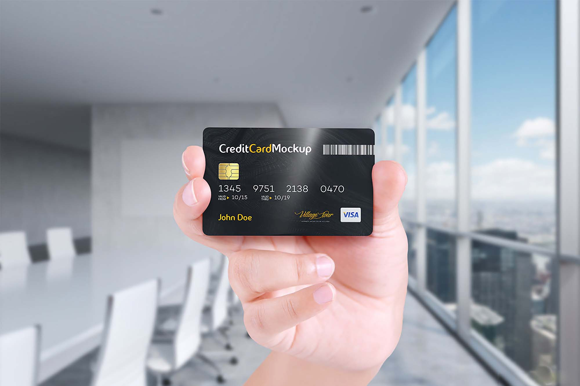 Credit Card in Hand Mockup 6