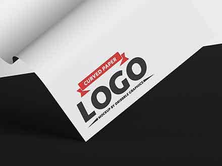 Curved Paper Logo Mockup