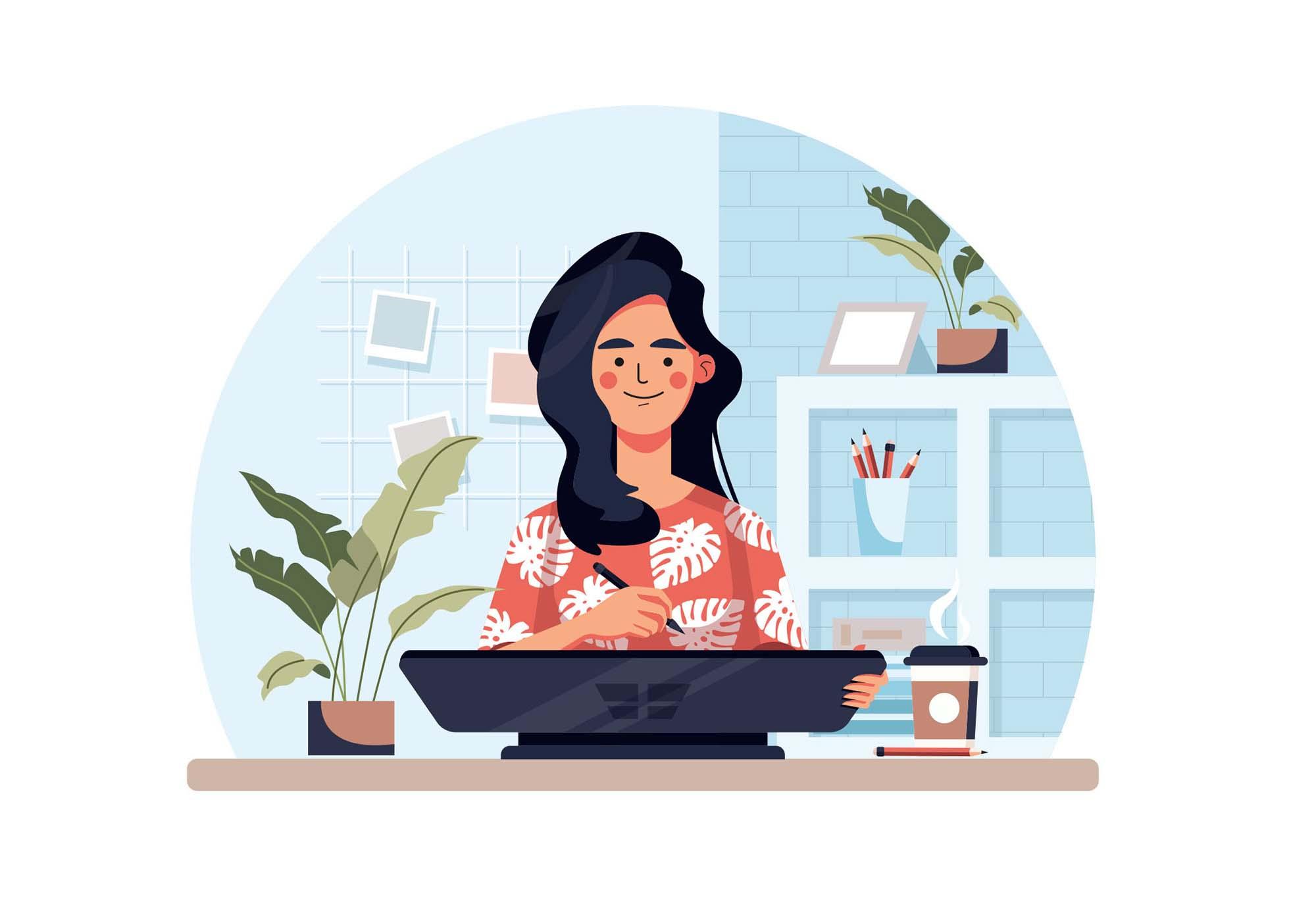 Designer Using Microsoft Surface Studio Illustration