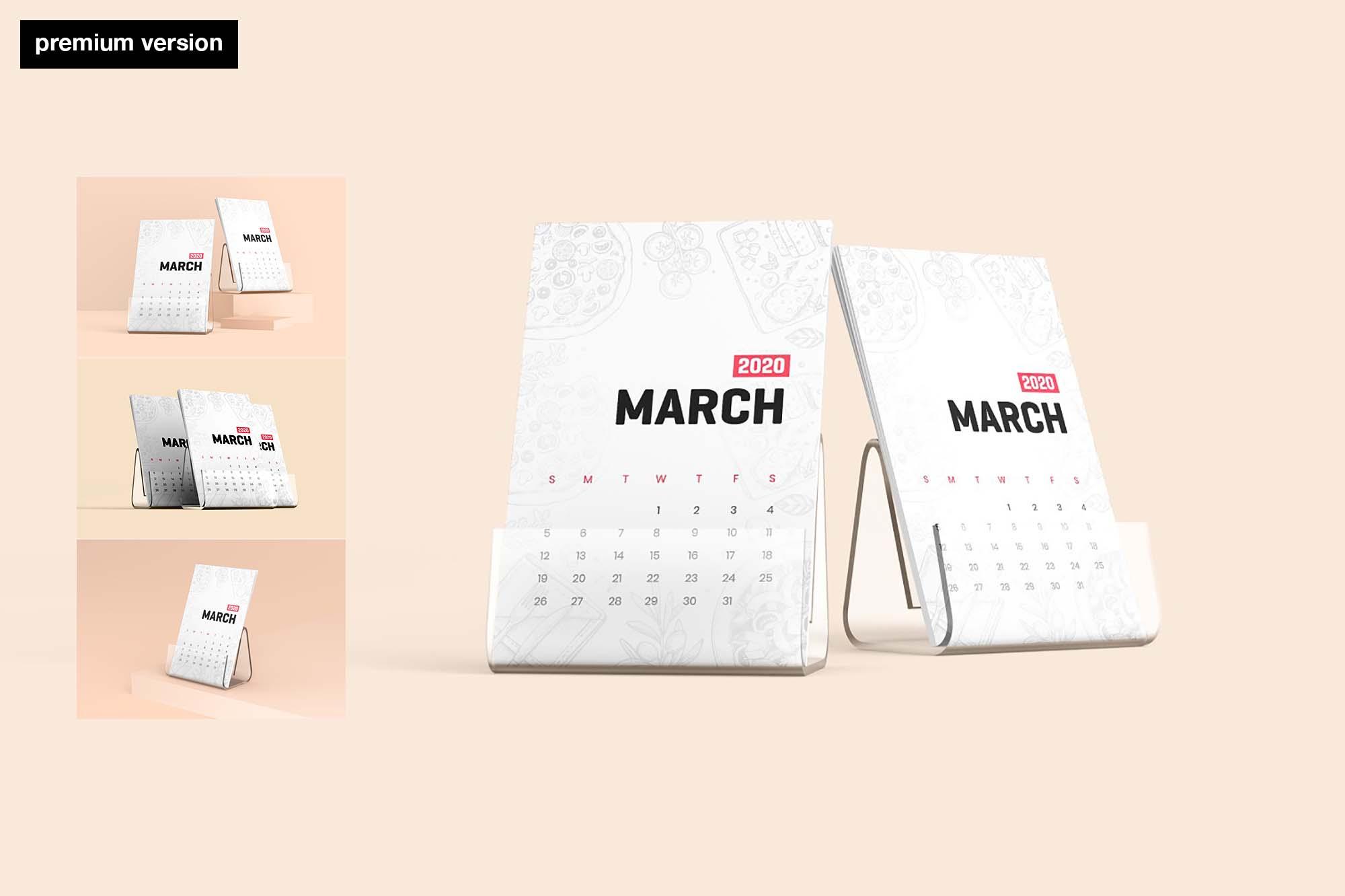Desk Calendar With Stand Mockup - Premium