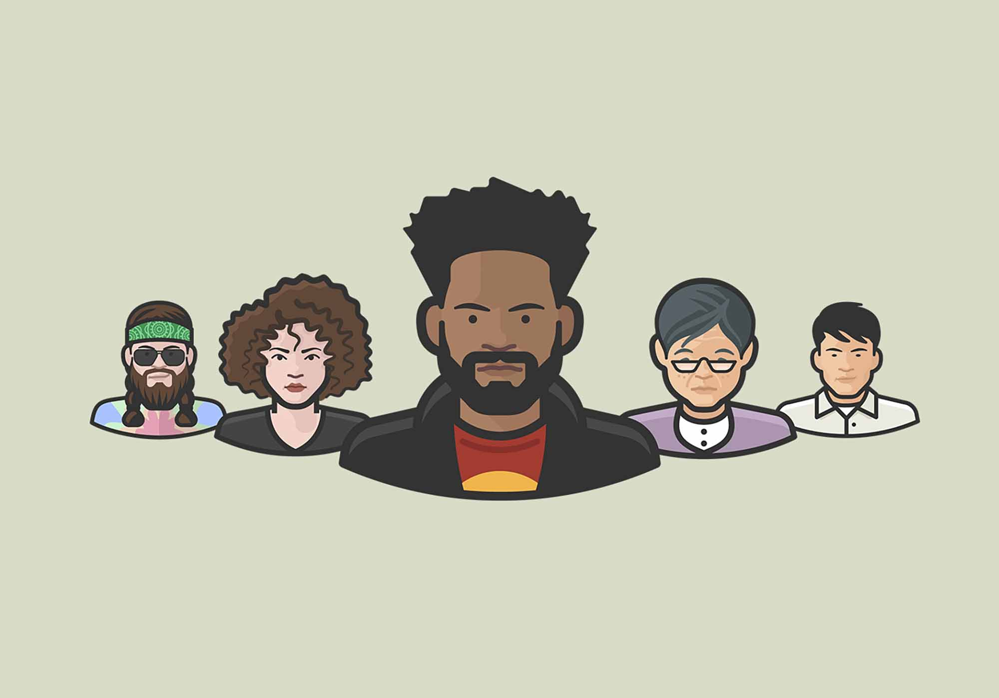 Diversity Avatars Vector Icons