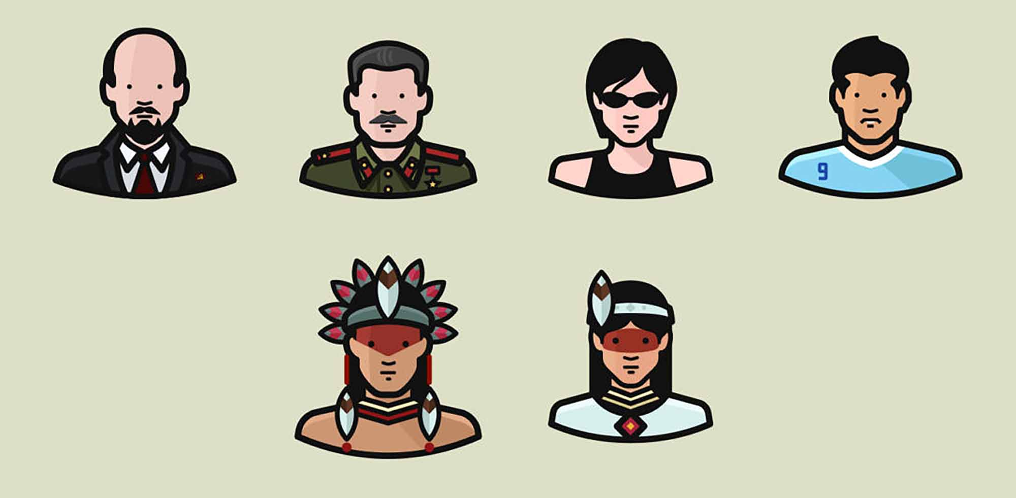 Diversity Avatars Vector Icons 4