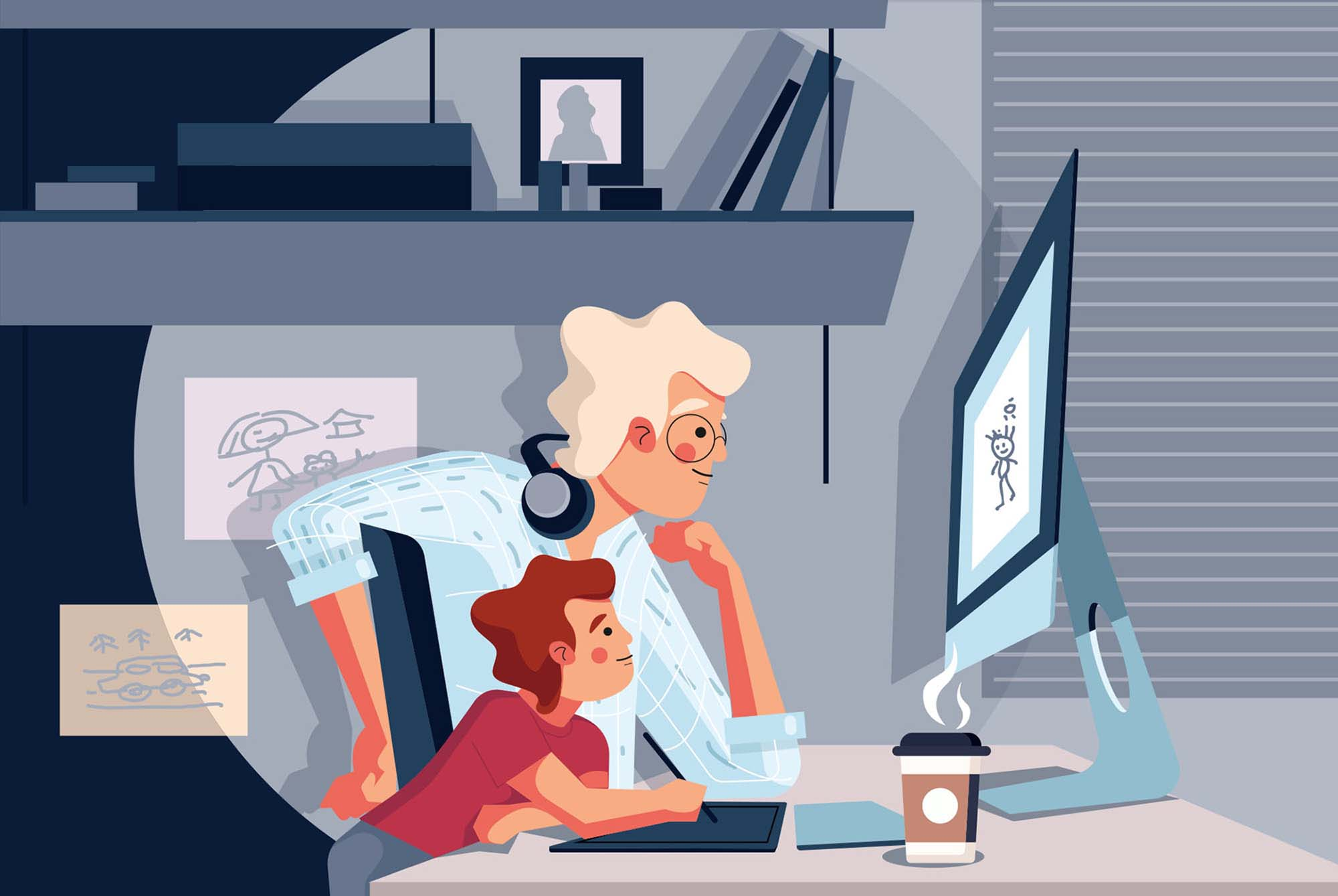Father and Son Using Computer Illustration