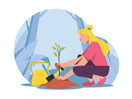 Girl Planting a Tree Illustration