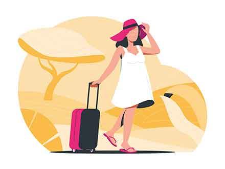 Girl Traveling Illustration