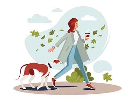 Girl Walking with Dog Illustration