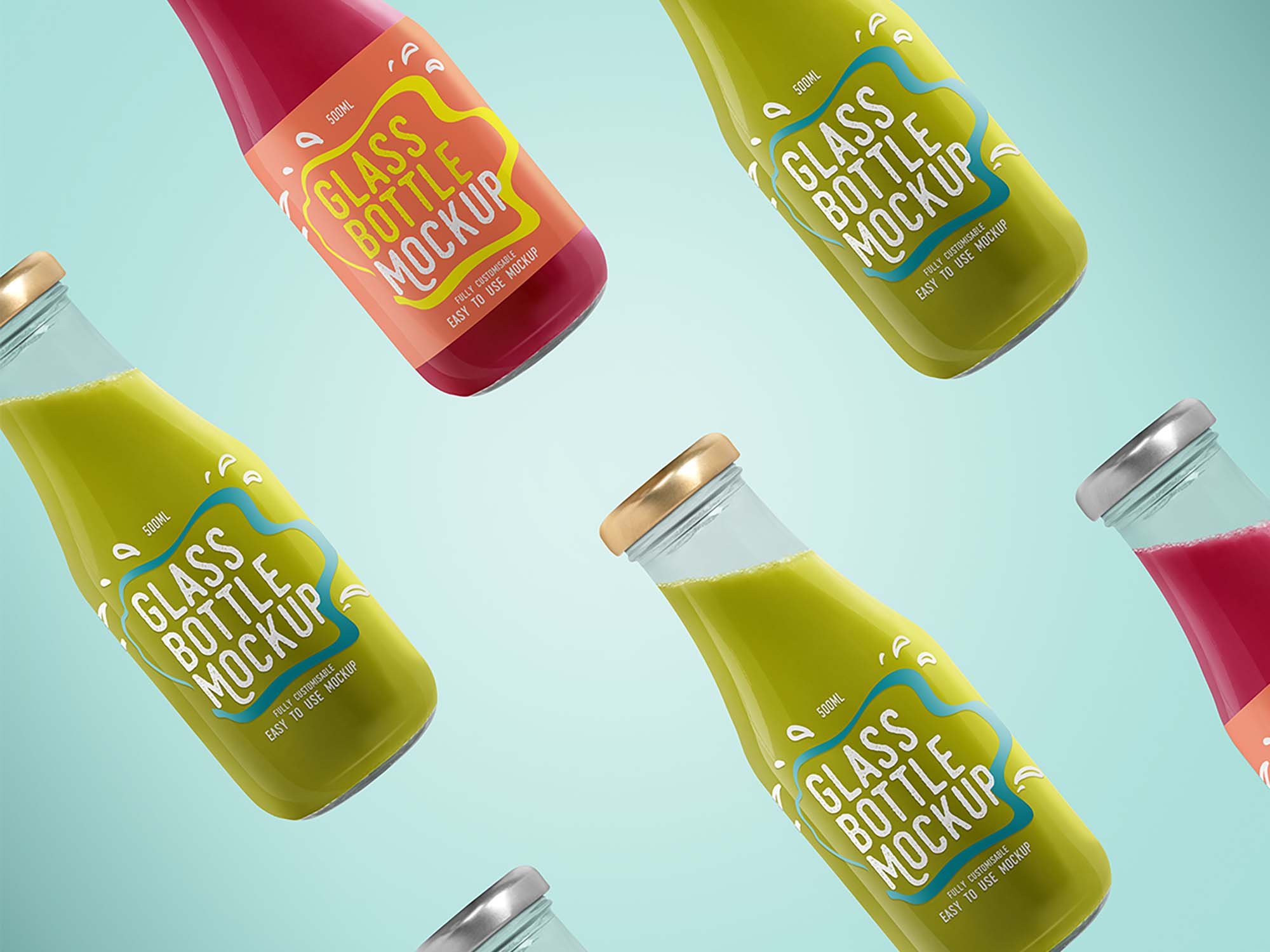Glass Beverage Bottles Mockup
