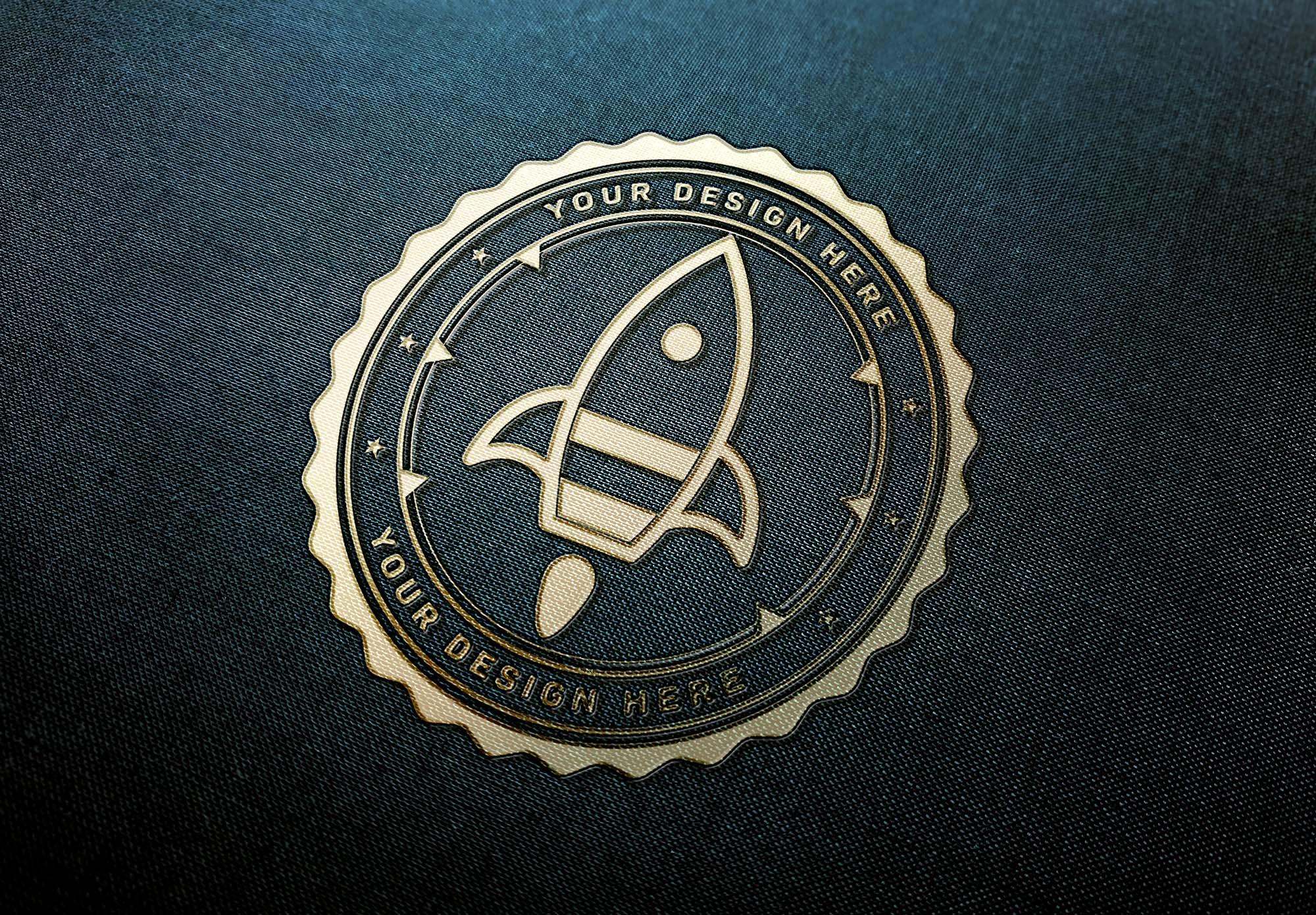 Gold Logo on Fabric Mockup