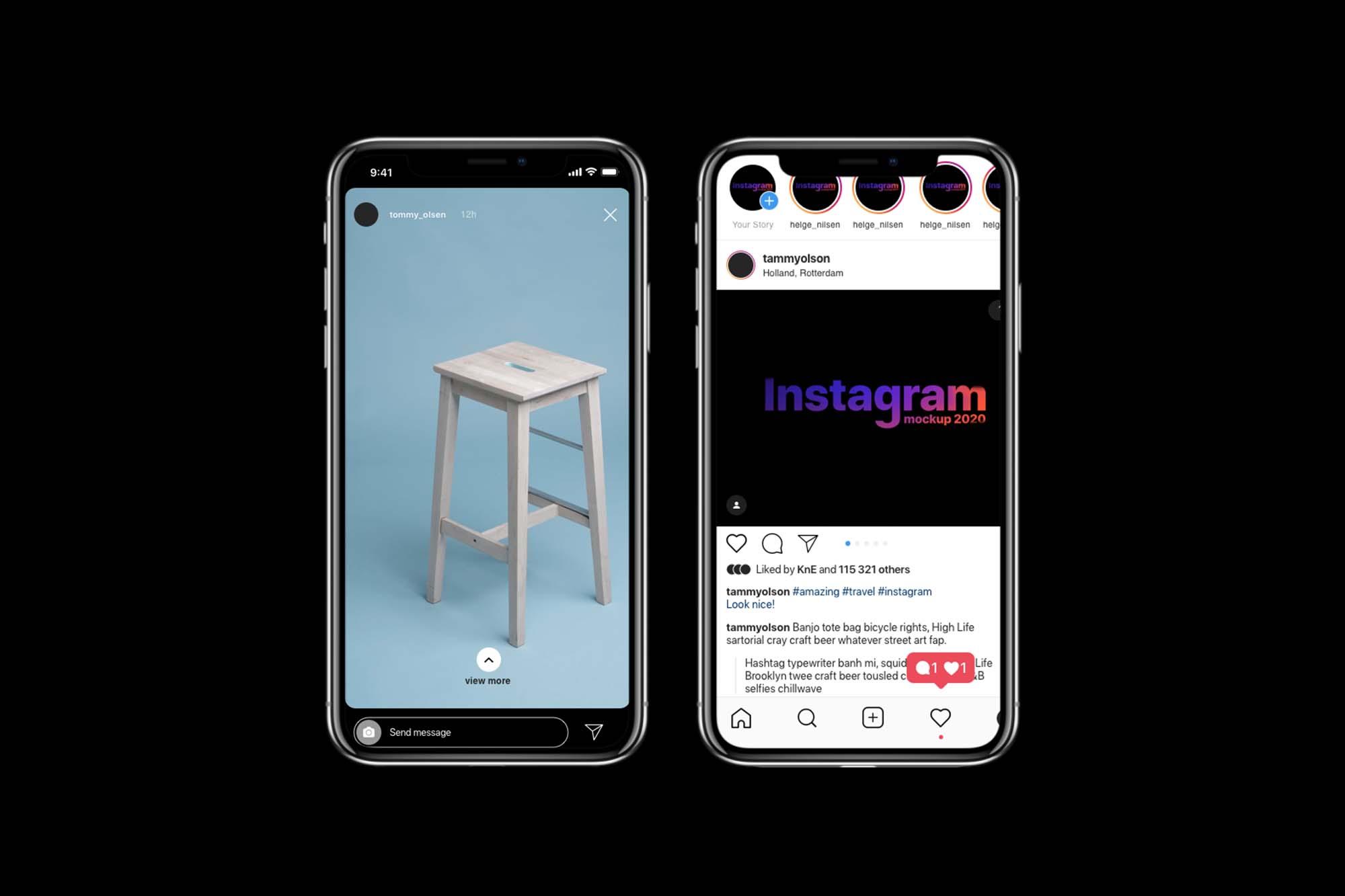 Free Instagram Mockup 2020 Psd Sketch Figma
