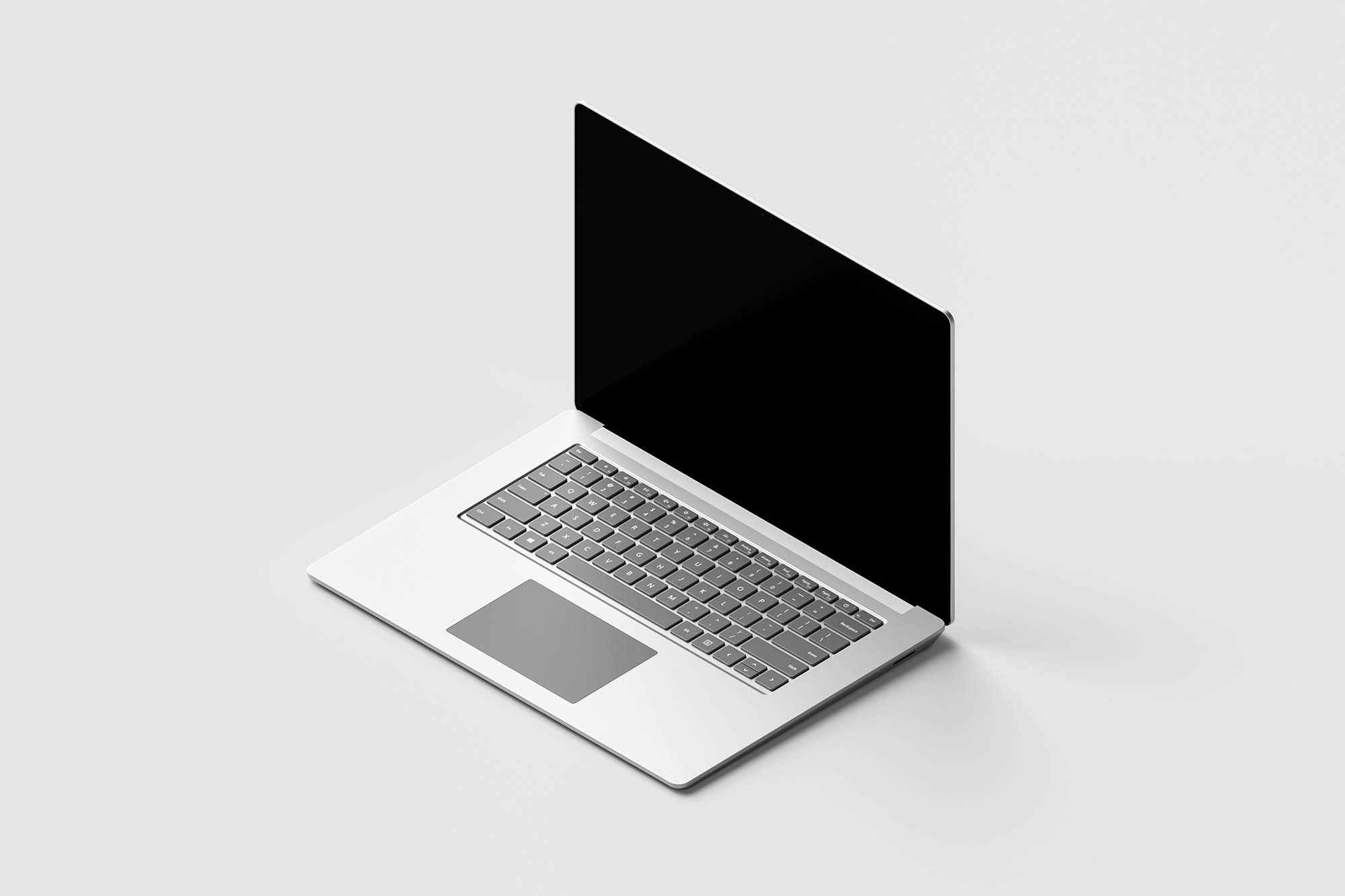 Isometric Surface Laptop Mockup 2
