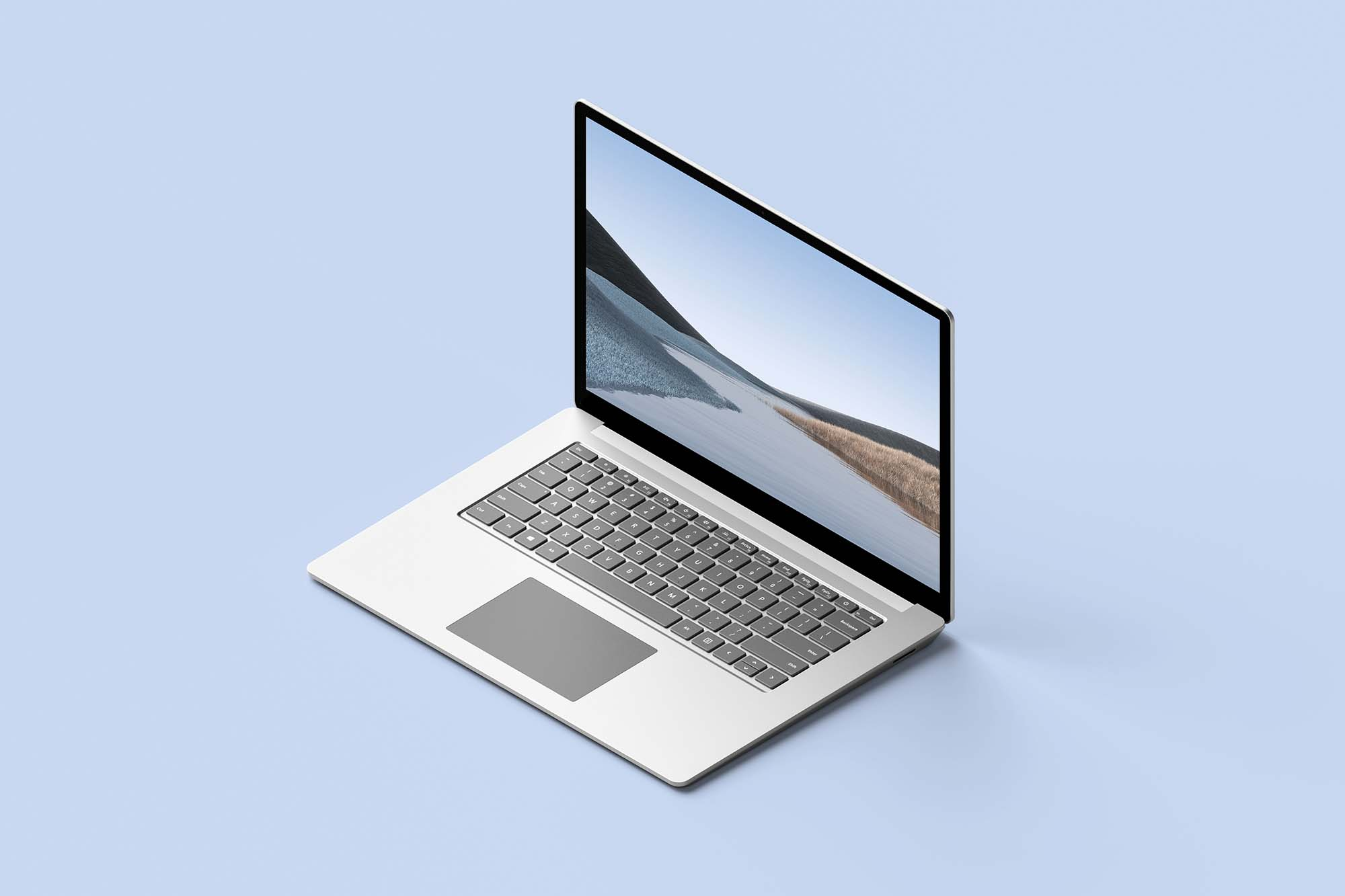 Isometric Surface Laptop Mockup