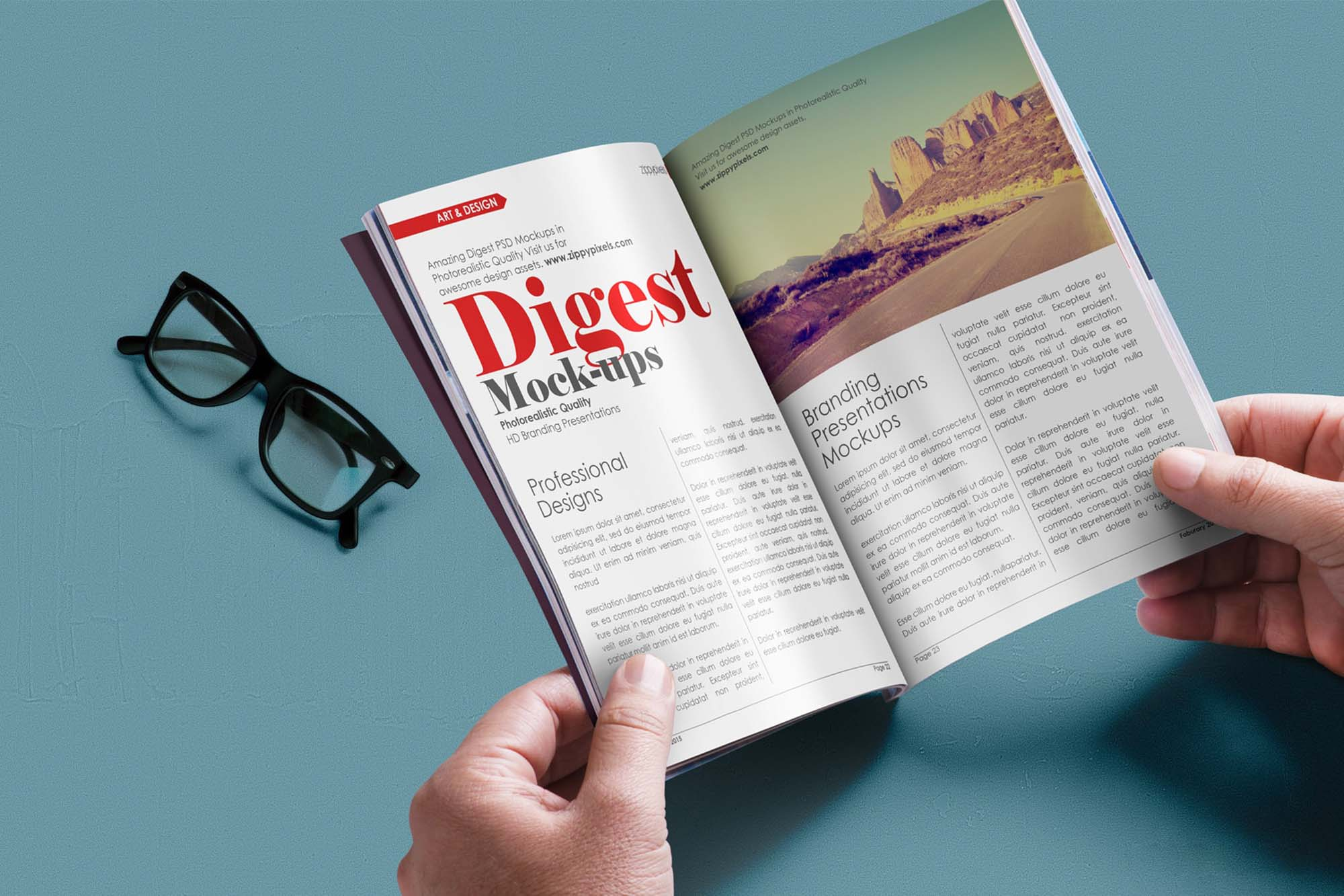 Magazine in Hands Mockup